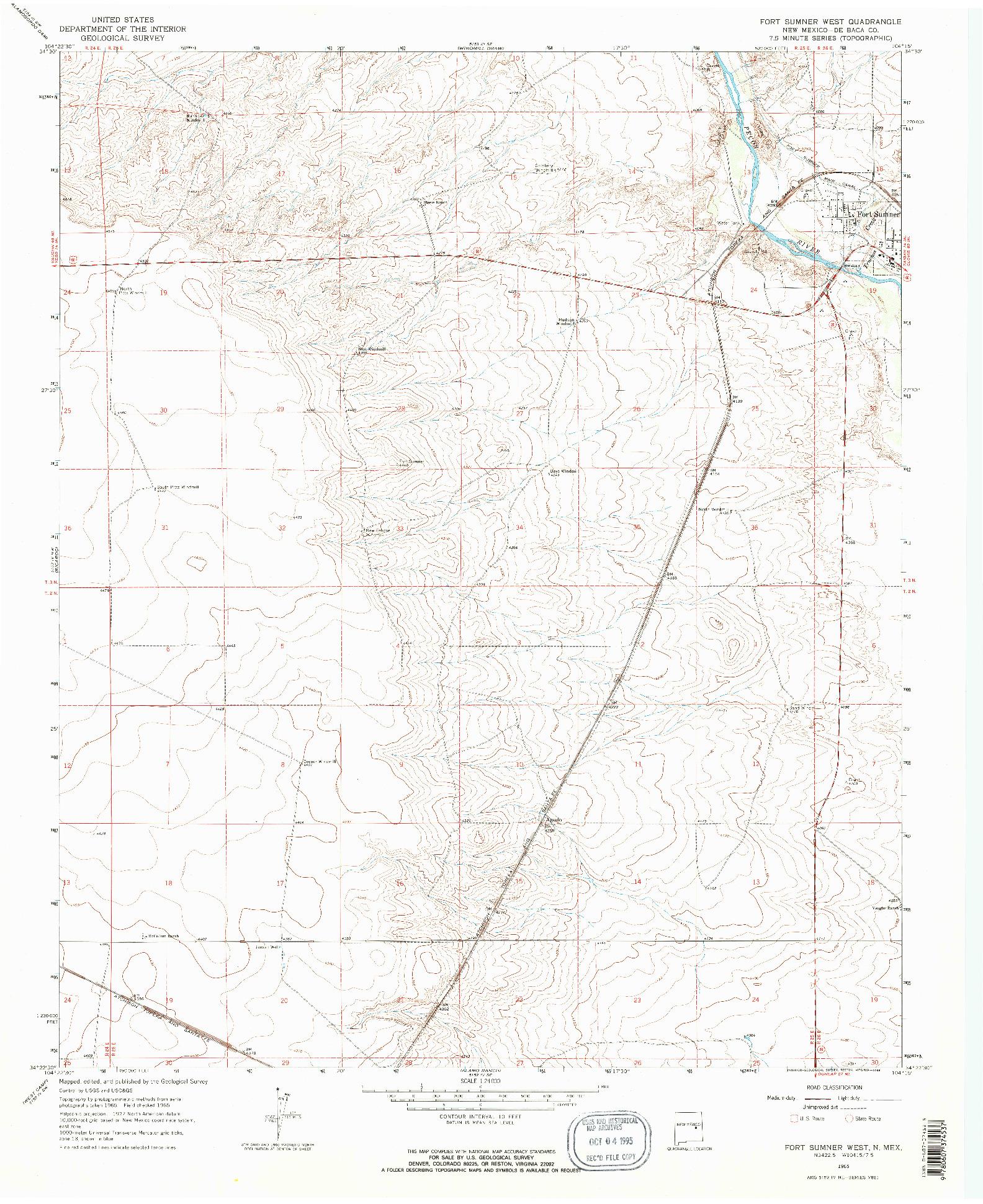USGS 1:24000-SCALE QUADRANGLE FOR FORT SUMNER WEST, NM 1965