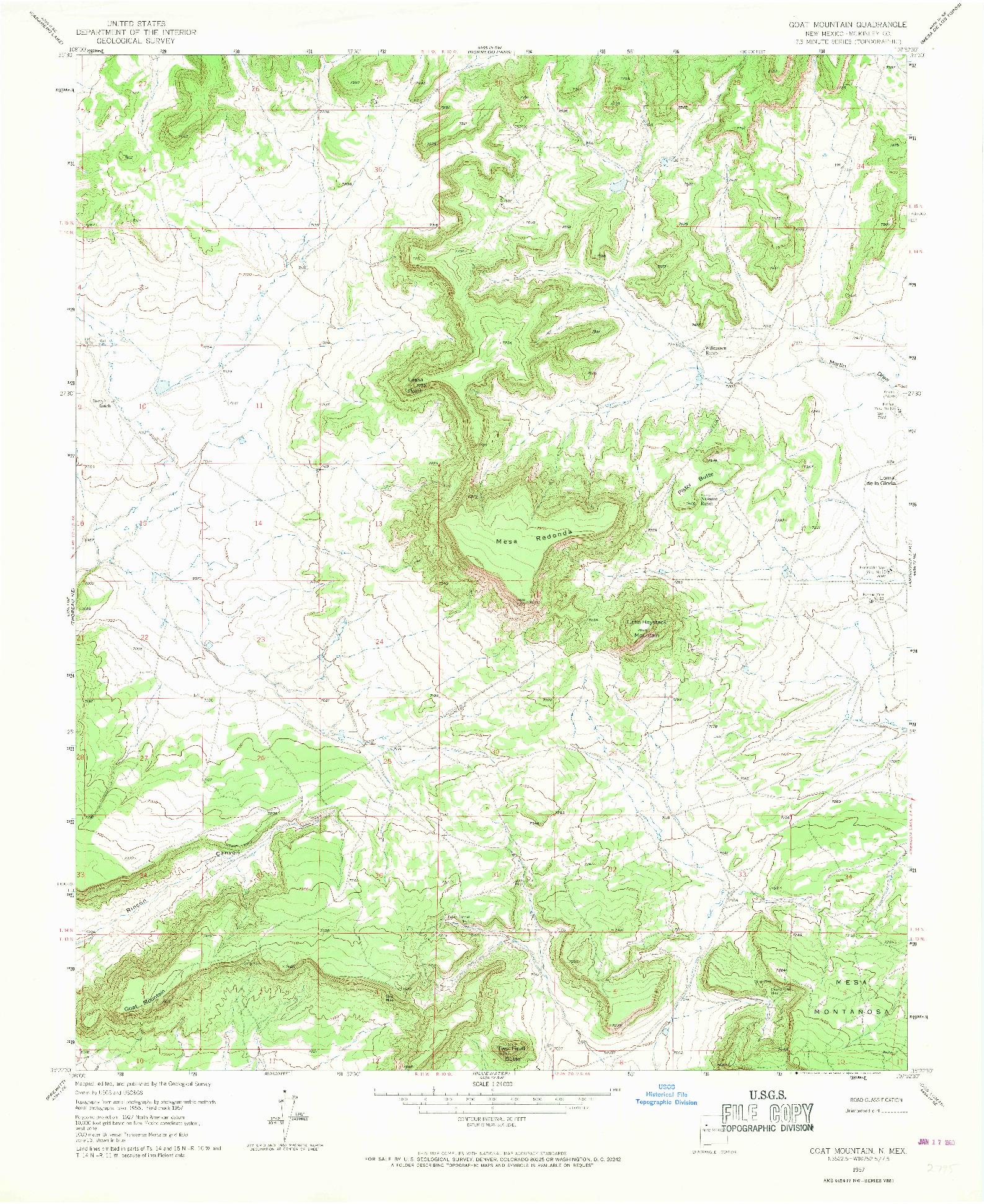 USGS 1:24000-SCALE QUADRANGLE FOR GOAT MOUNTAIN, NM 1957