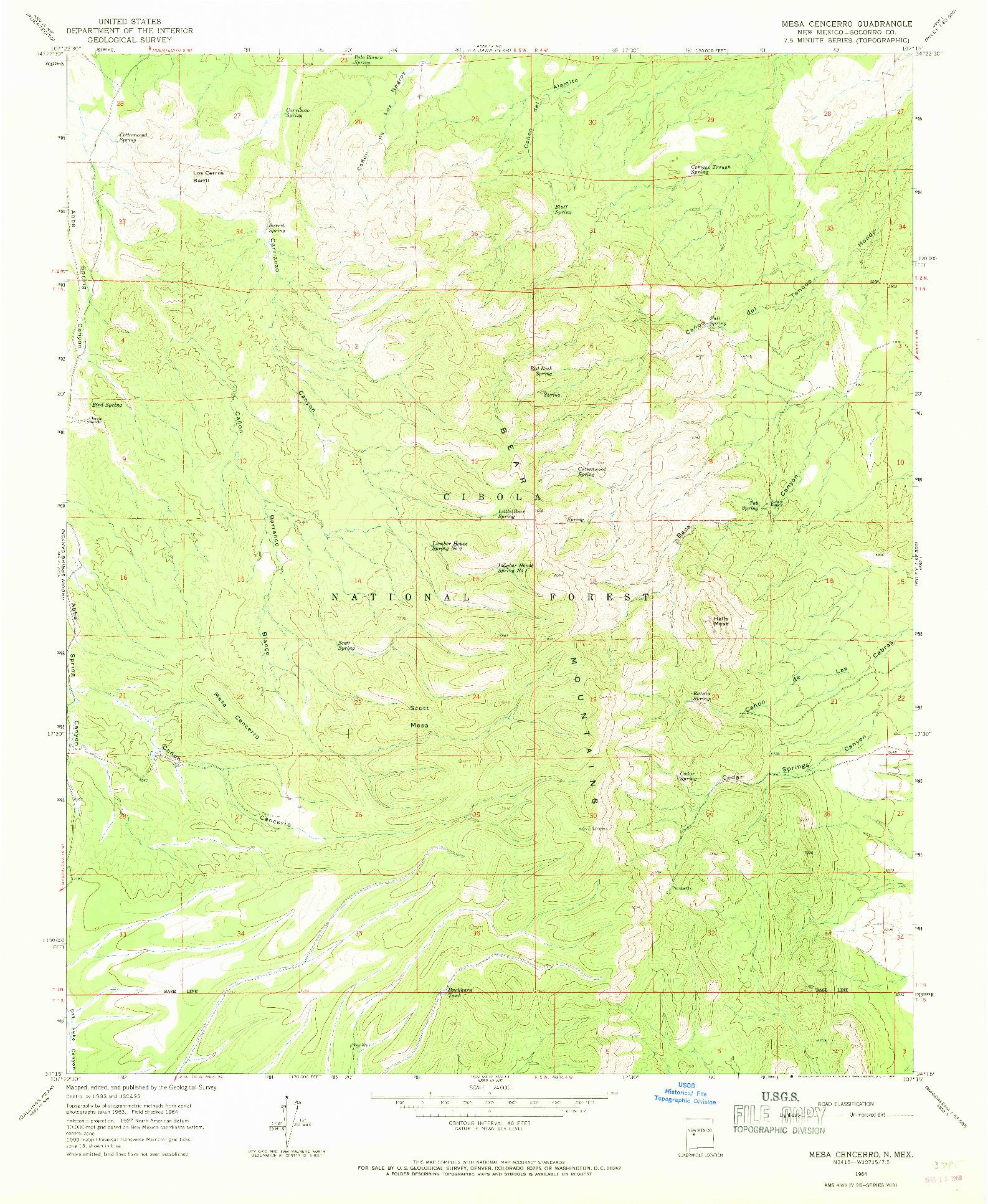 USGS 1:24000-SCALE QUADRANGLE FOR MESA CENCERRO, NM 1964