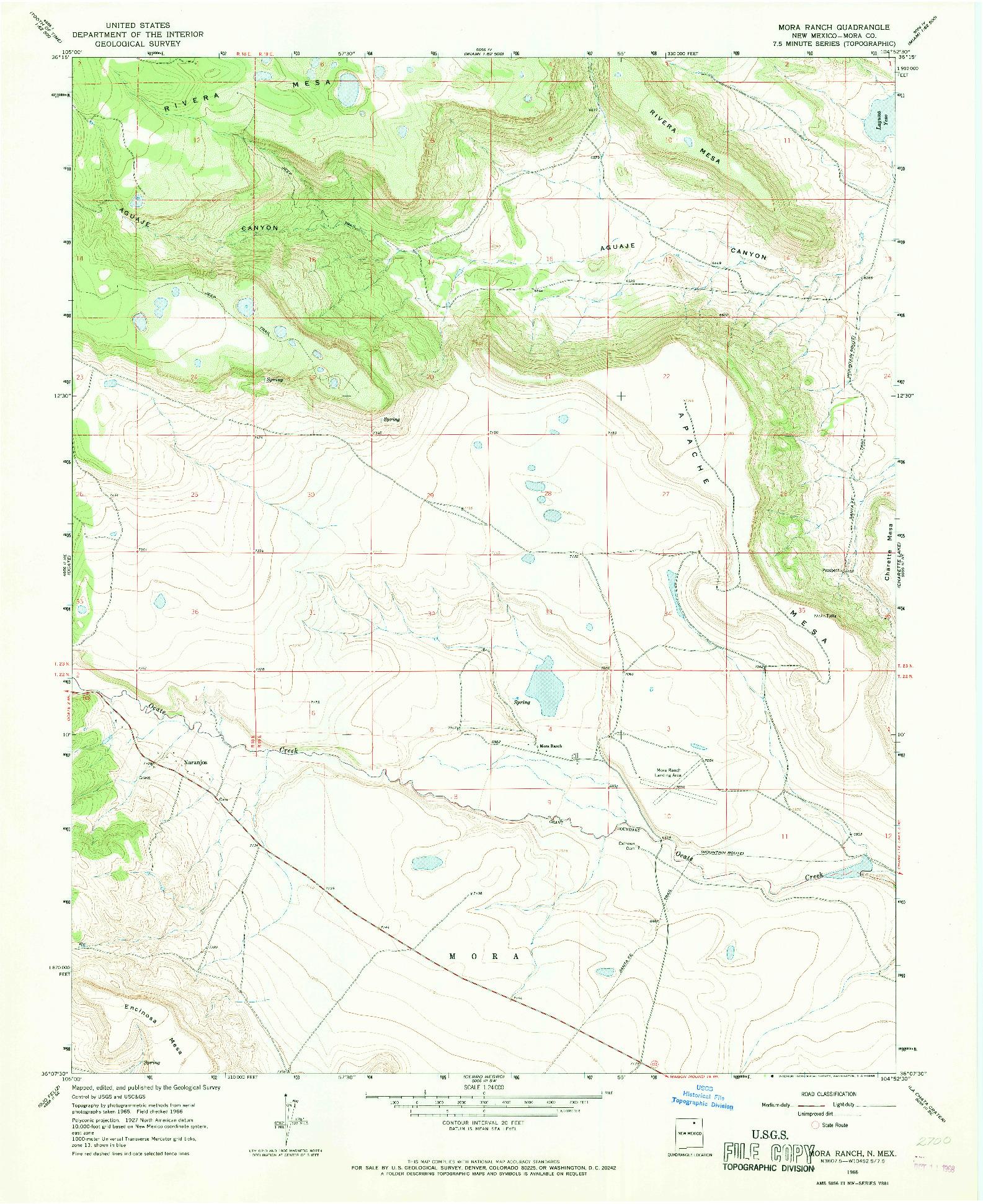 USGS 1:24000-SCALE QUADRANGLE FOR MORA RANCH, NM 1966