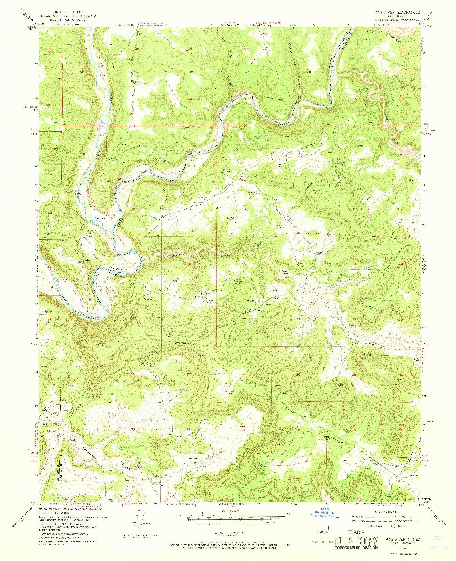 USGS 1:24000-SCALE QUADRANGLE FOR PINE RIVER, NM 1954
