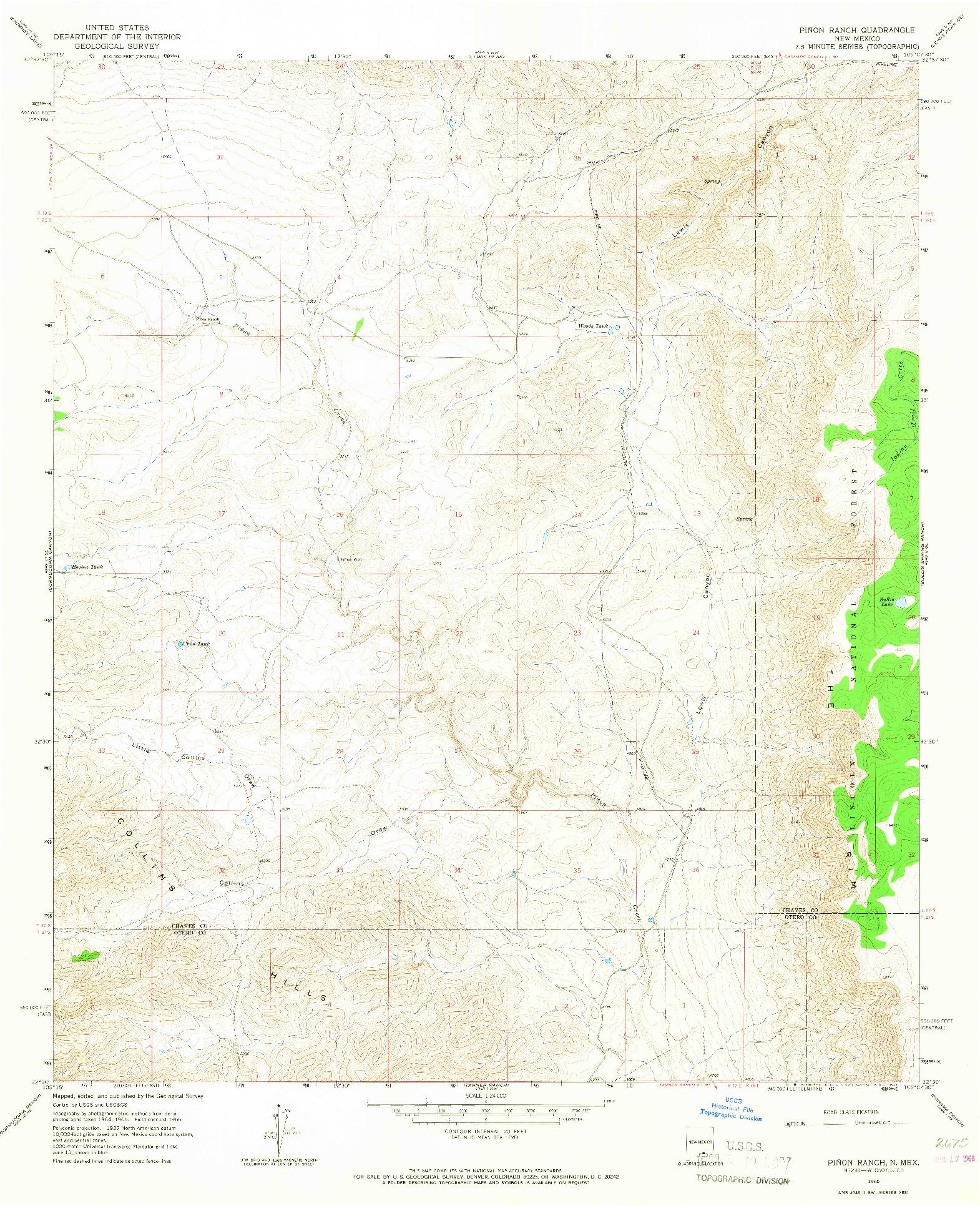 USGS 1:24000-SCALE QUADRANGLE FOR PINON RANCH, NM 1965