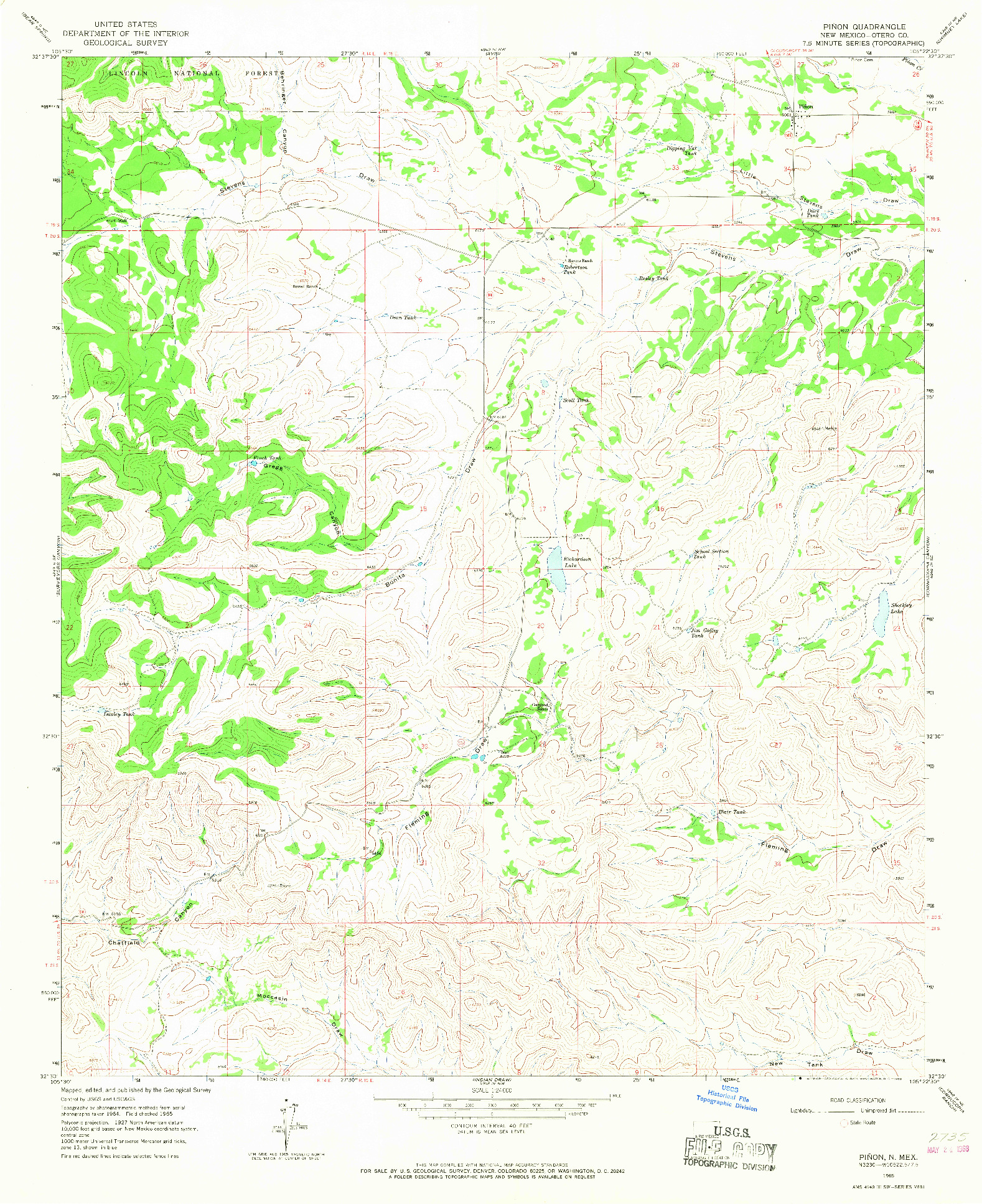 USGS 1:24000-SCALE QUADRANGLE FOR PINON, NM 1965