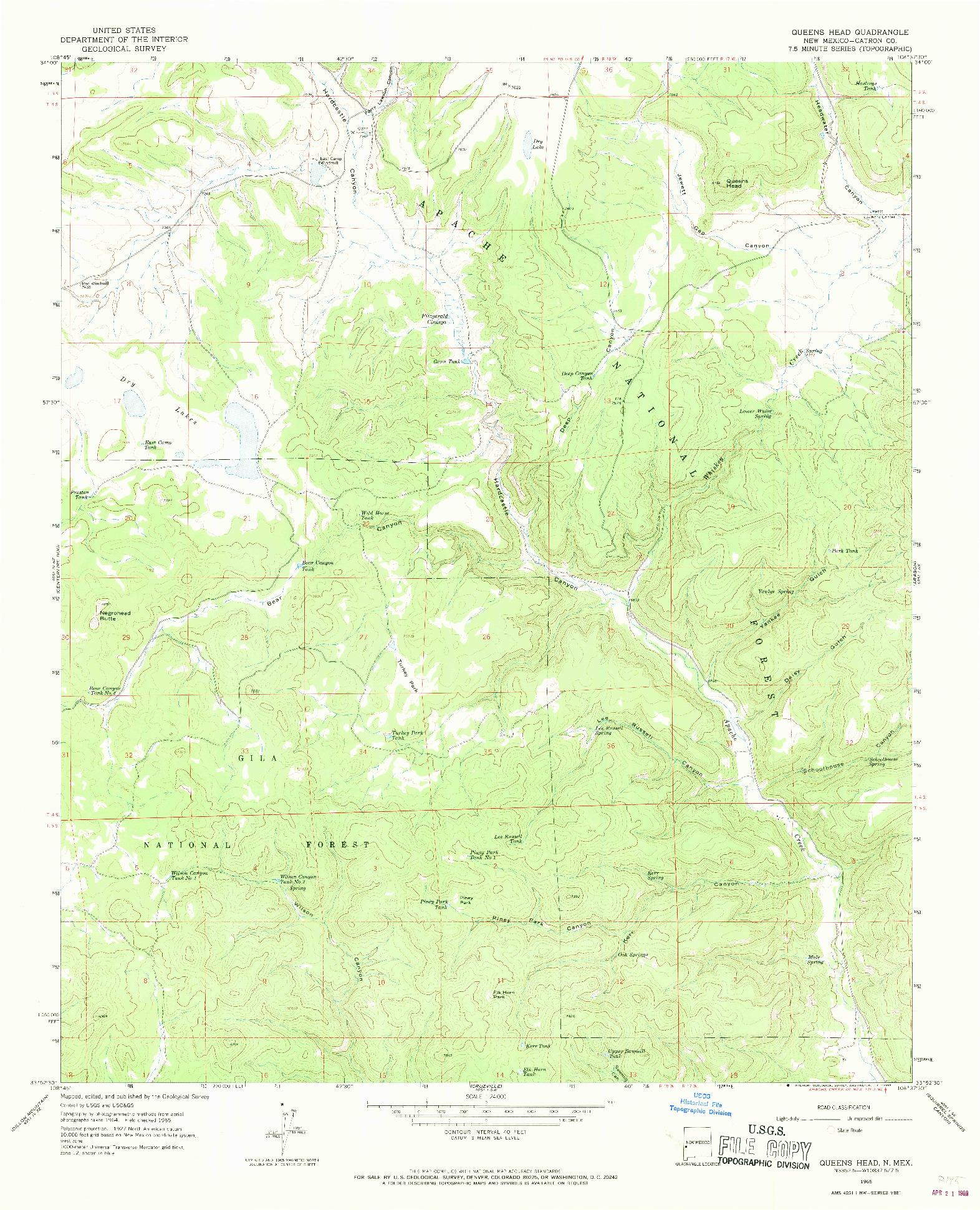 USGS 1:24000-SCALE QUADRANGLE FOR QUEENS HEAD, NM 1965