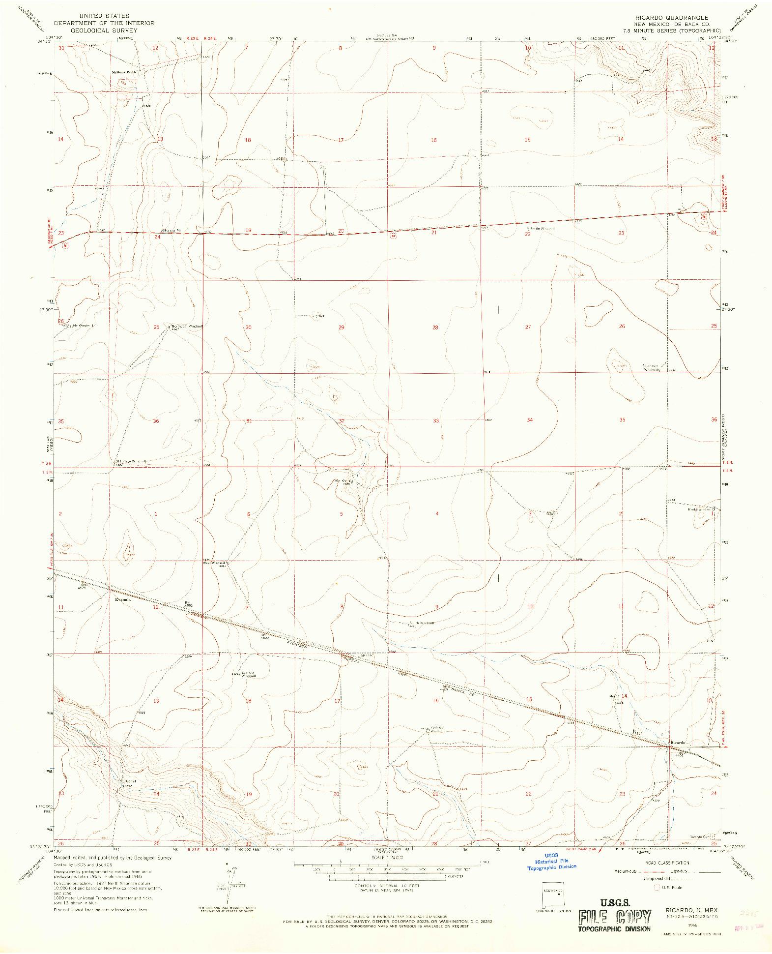 USGS 1:24000-SCALE QUADRANGLE FOR RICARDO, NM 1966