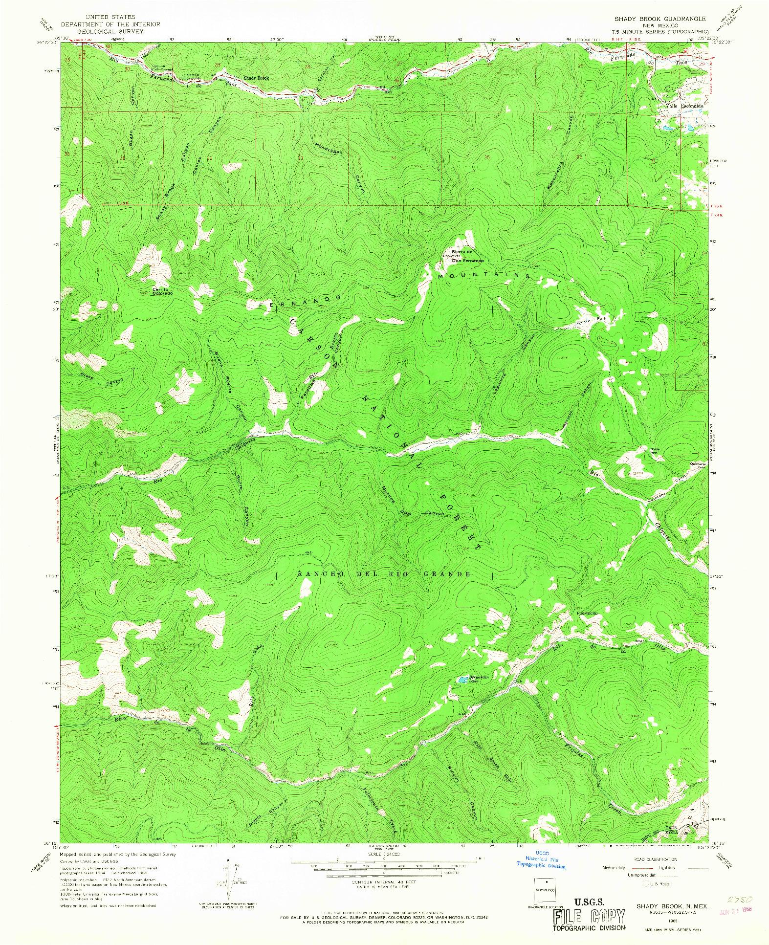 USGS 1:24000-SCALE QUADRANGLE FOR SHADY BROOK, NM 1965