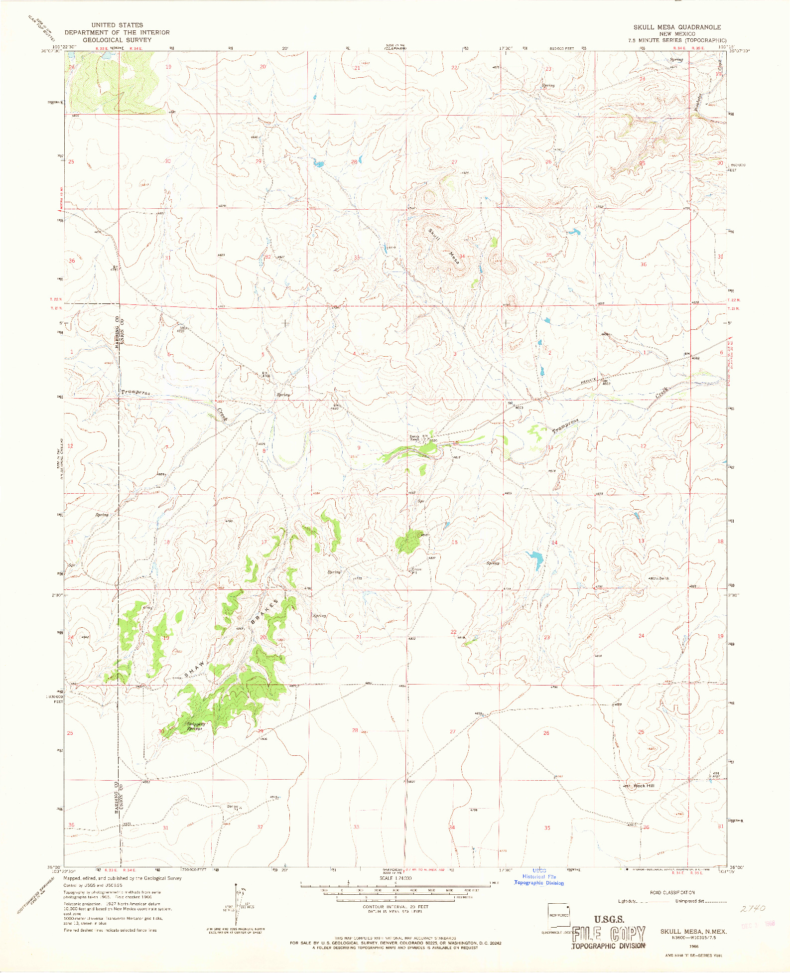 USGS 1:24000-SCALE QUADRANGLE FOR SKULL MESA, NM 1966