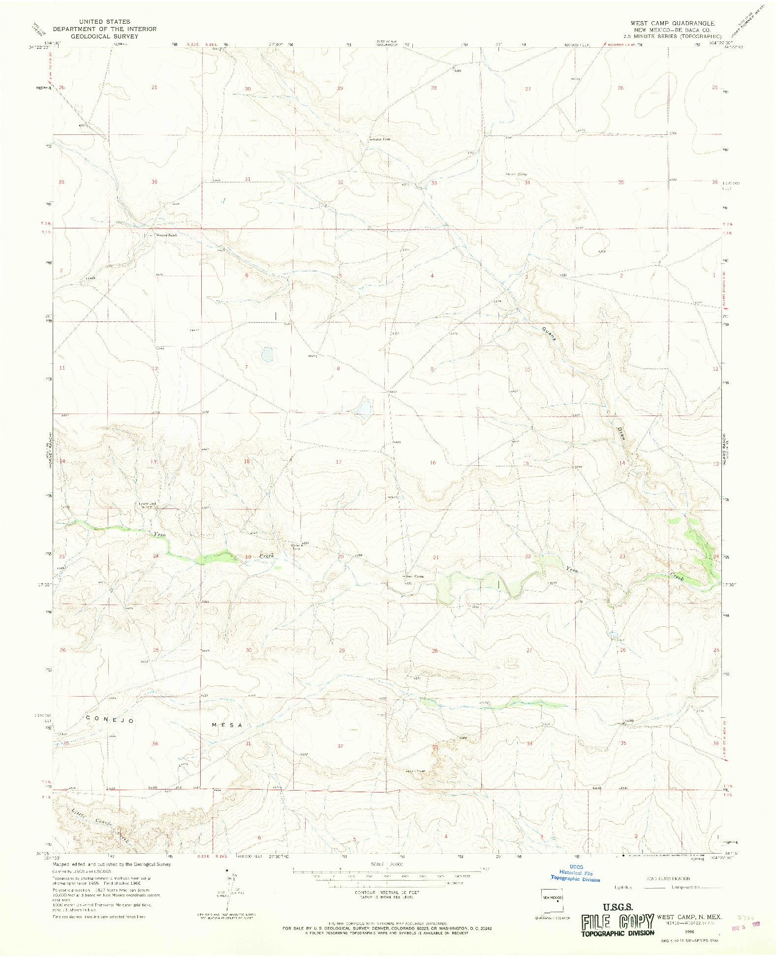 USGS 1:24000-SCALE QUADRANGLE FOR WEST CAMP, NM 1966