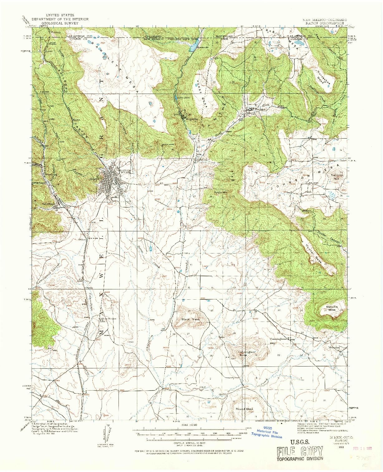 USGS 1:62500-SCALE QUADRANGLE FOR RATON, NM 1912