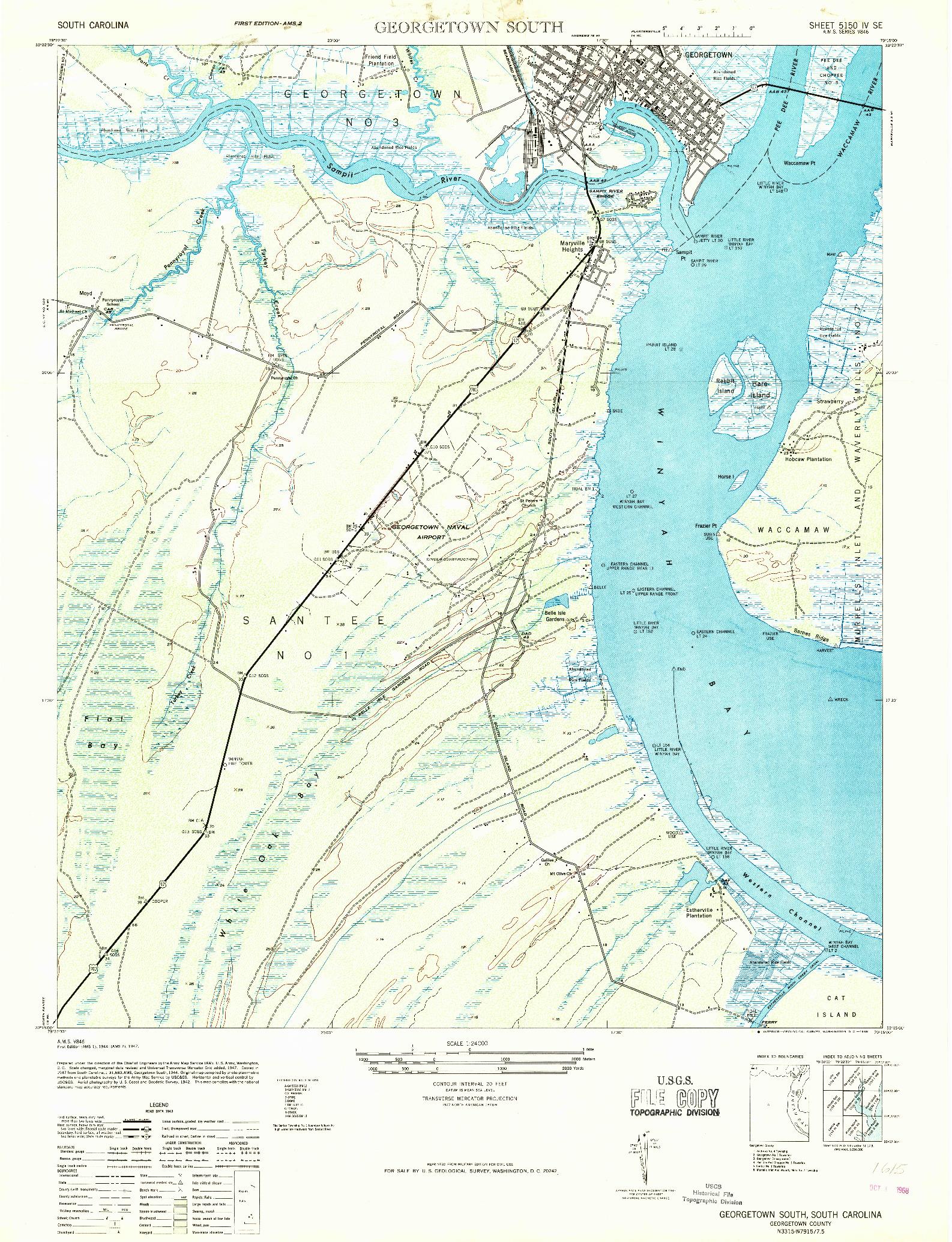 USGS 1:24000-SCALE QUADRANGLE FOR GEORGETOWN SOUTH, SC 1968