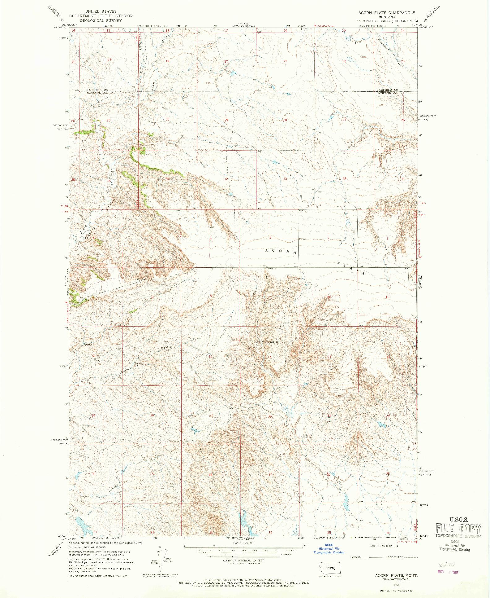 USGS 1:24000-SCALE QUADRANGLE FOR ACORN FLATS, MT 1965