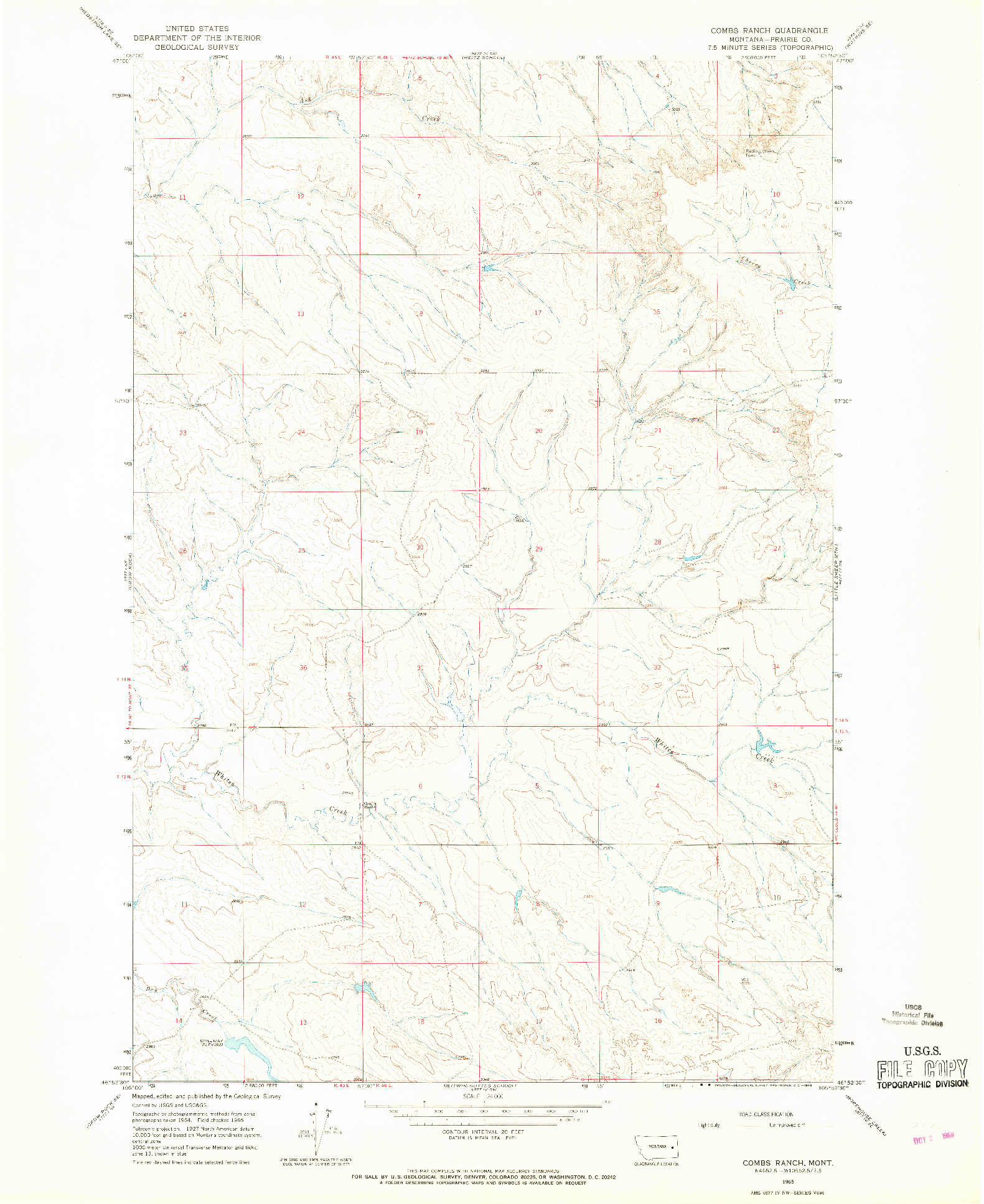 USGS 1:24000-SCALE QUADRANGLE FOR COMBS RANCH, MT 1965