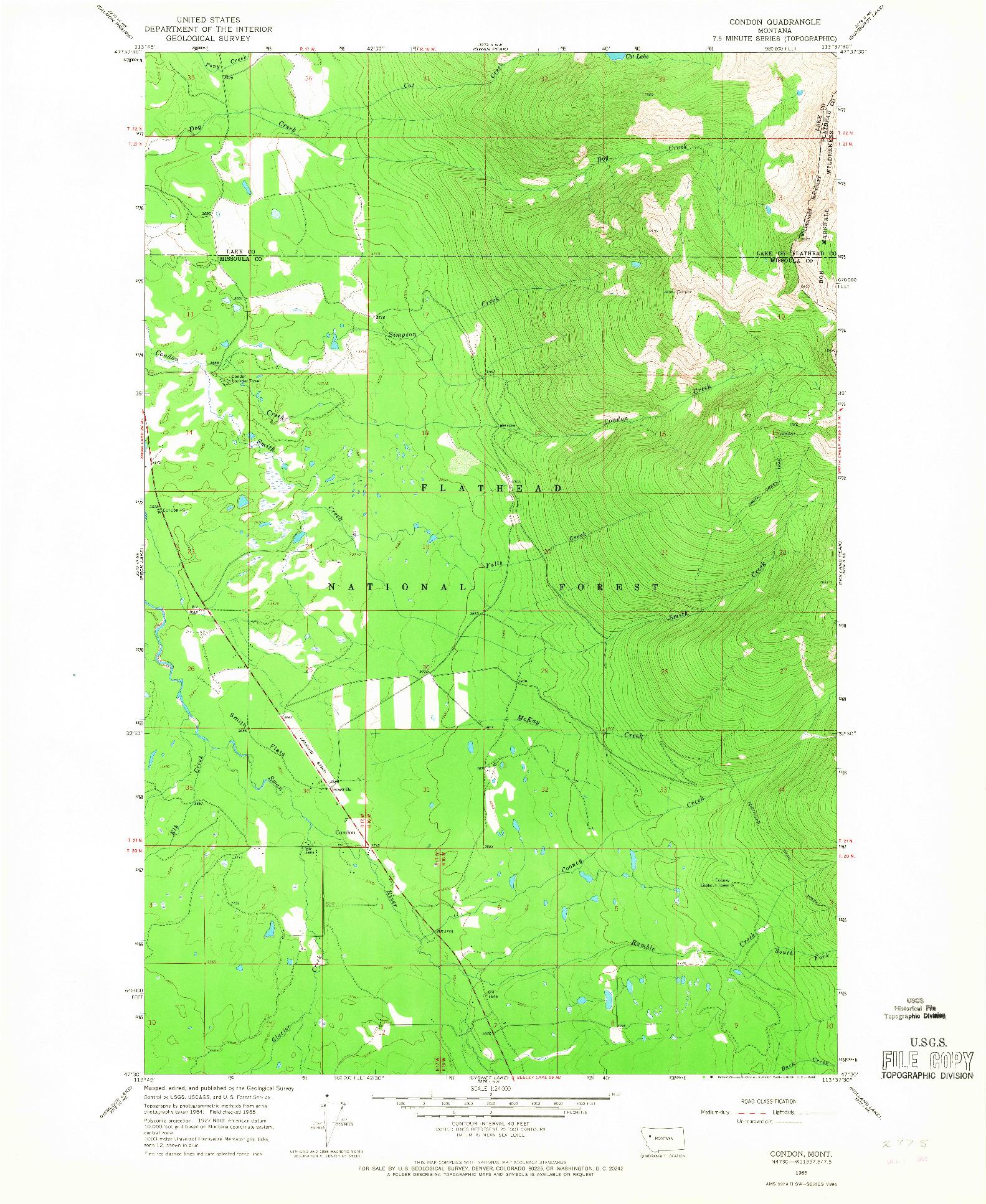 USGS 1:24000-SCALE QUADRANGLE FOR CONDON, MT 1965