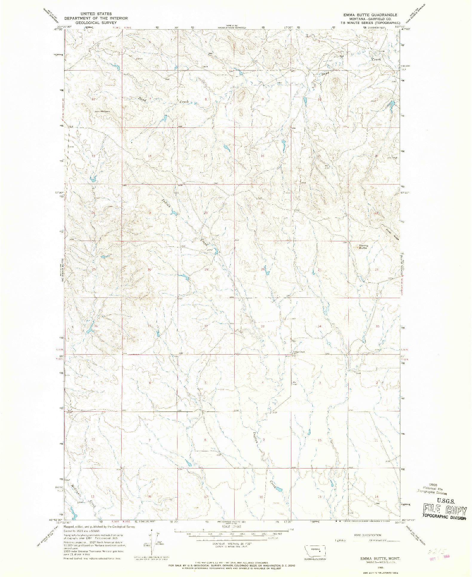 USGS 1:24000-SCALE QUADRANGLE FOR EMMA BUTTE, MT 1965