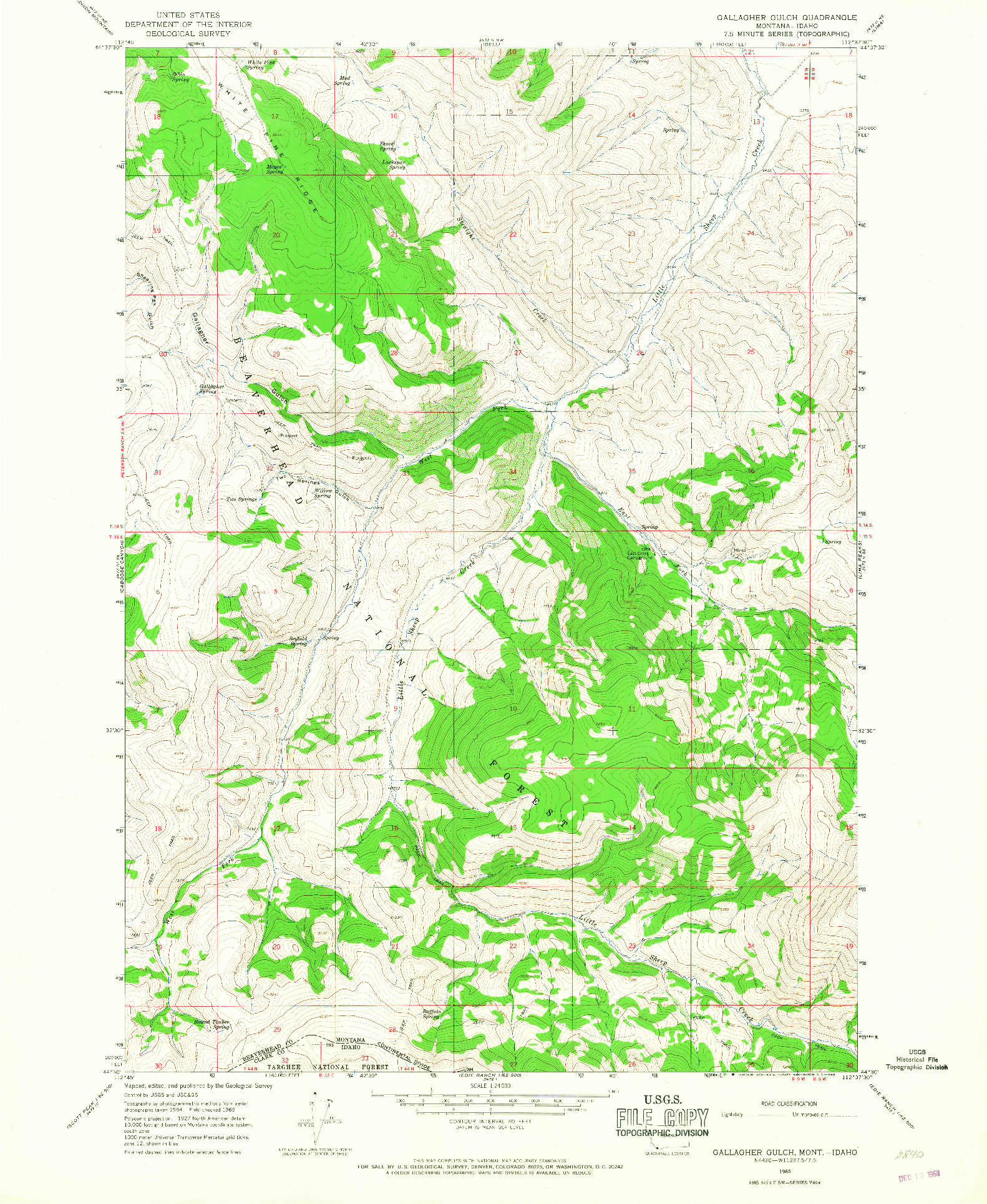 USGS 1:24000-SCALE QUADRANGLE FOR GALLAGHER GULCH, MT 1965