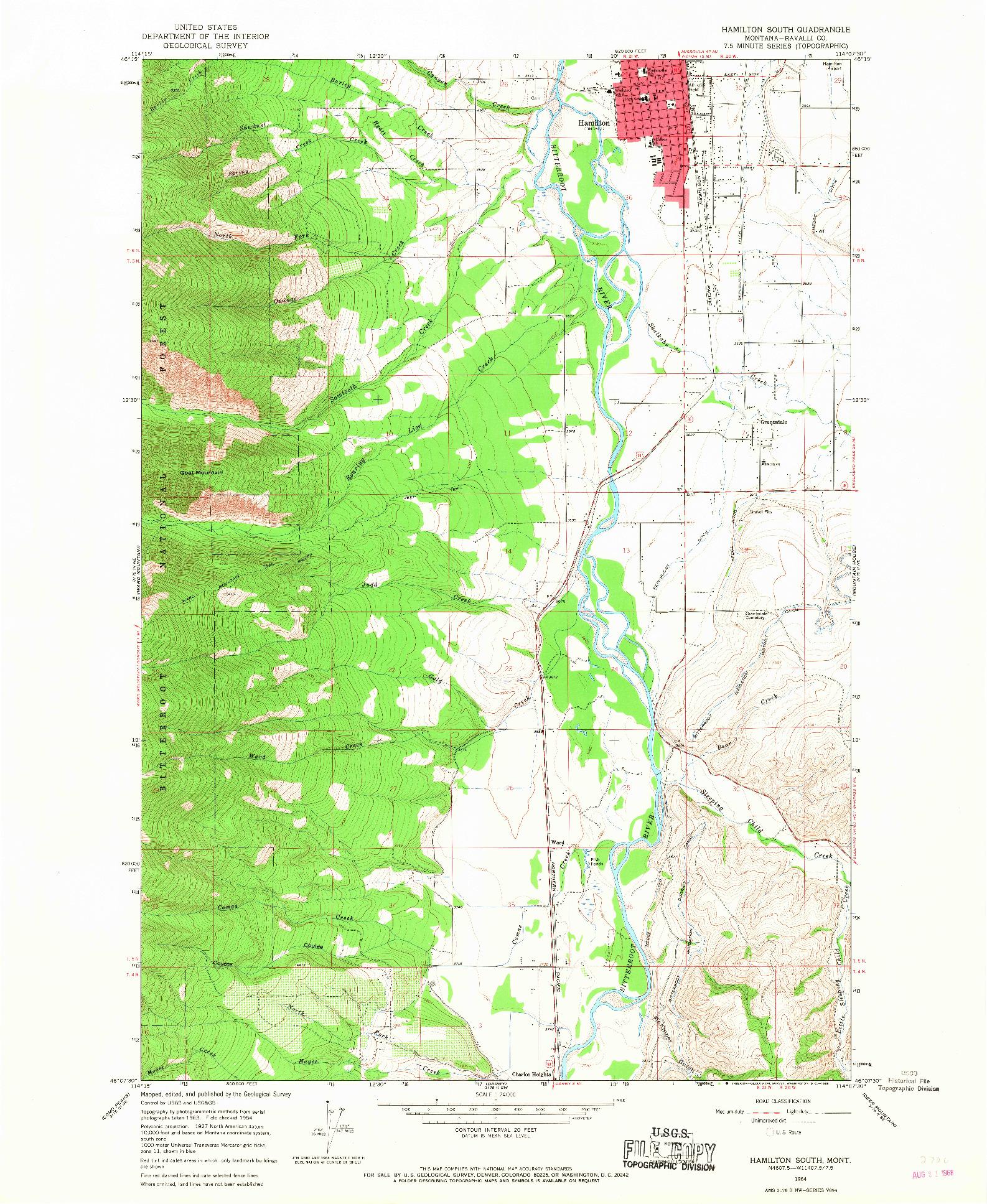 USGS 1:24000-SCALE QUADRANGLE FOR HAMILTON SOUTH, MT 1964