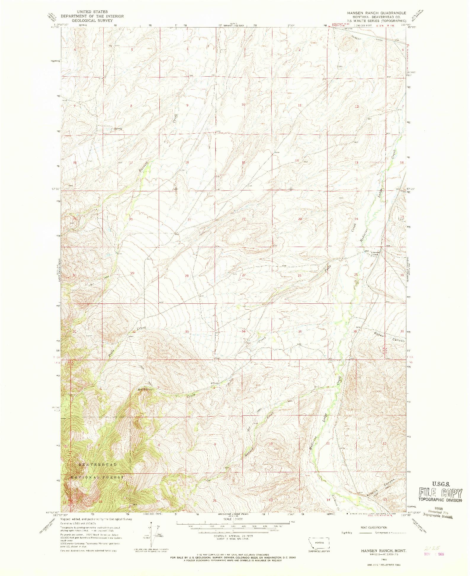 USGS 1:24000-SCALE QUADRANGLE FOR HANSEN RANCH, MT 1965