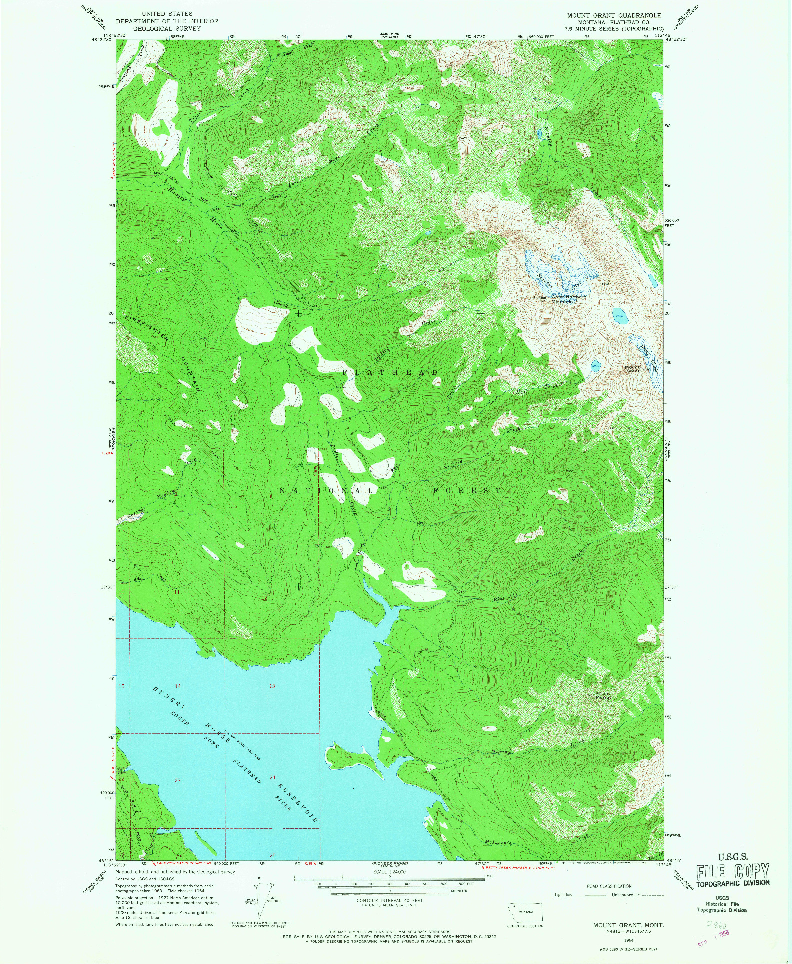 USGS 1:24000-SCALE QUADRANGLE FOR MOUNT GRANT, MT 1964