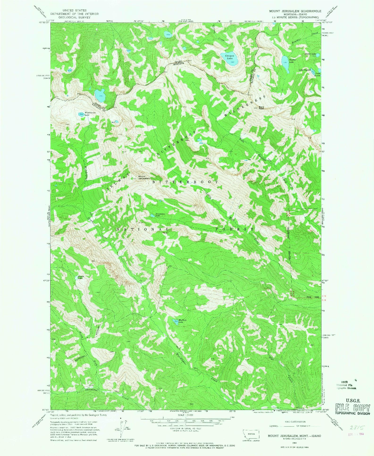 USGS 1:24000-SCALE QUADRANGLE FOR MOUNT JERUSALEM, MT 1964