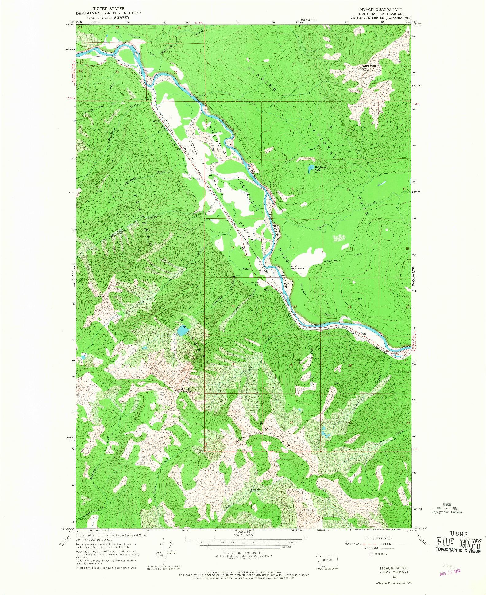 USGS 1:24000-SCALE QUADRANGLE FOR NYACK, MT 1964