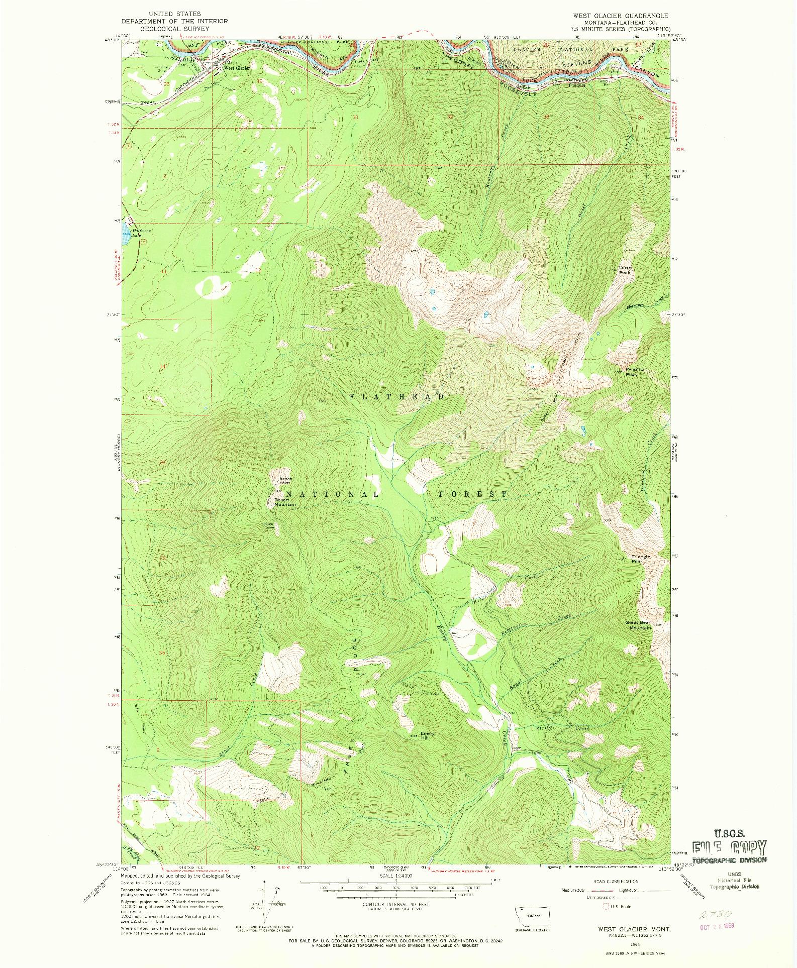 USGS 1:24000-SCALE QUADRANGLE FOR WEST GLACIER, MT 1964