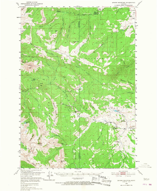 USGS 1:62500-SCALE QUADRANGLE FOR SPHINX MOUNTAIN, MT 1950