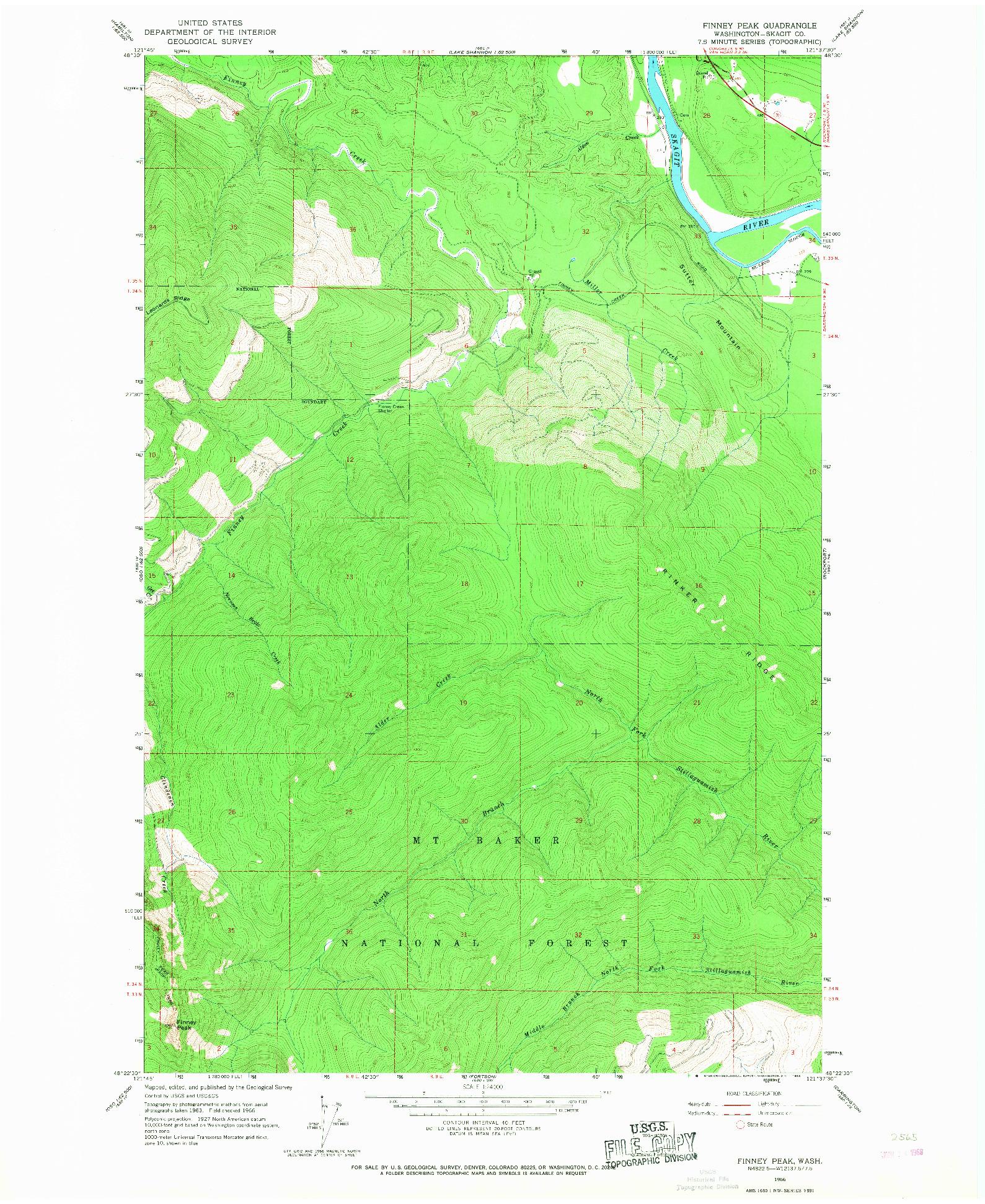 USGS 1:24000-SCALE QUADRANGLE FOR FINNEY PEAK, WA 1966