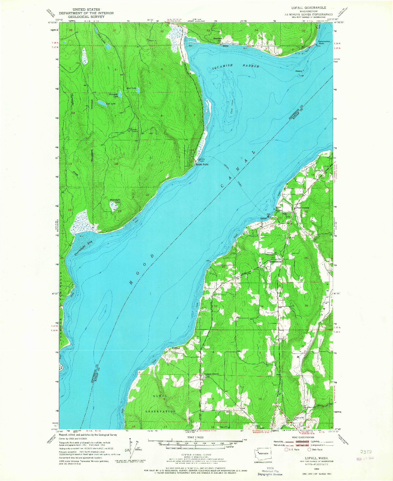 USGS 1:24000-SCALE QUADRANGLE FOR LOFALL, WA 1953