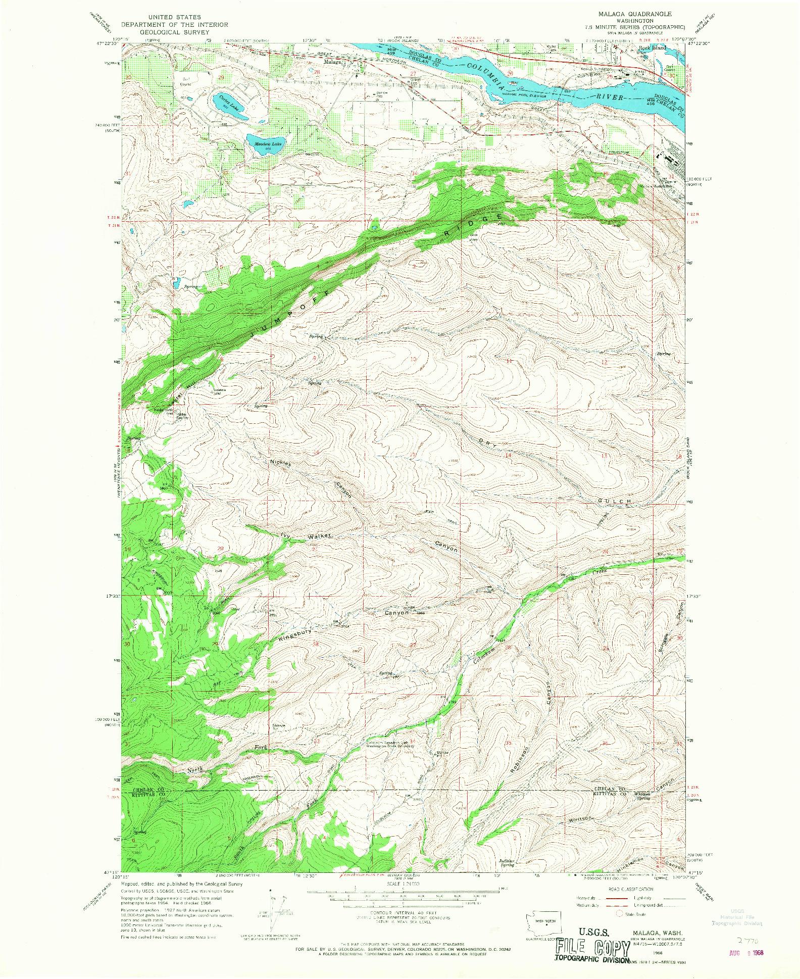 USGS 1:24000-SCALE QUADRANGLE FOR MALAGA, WA 1966