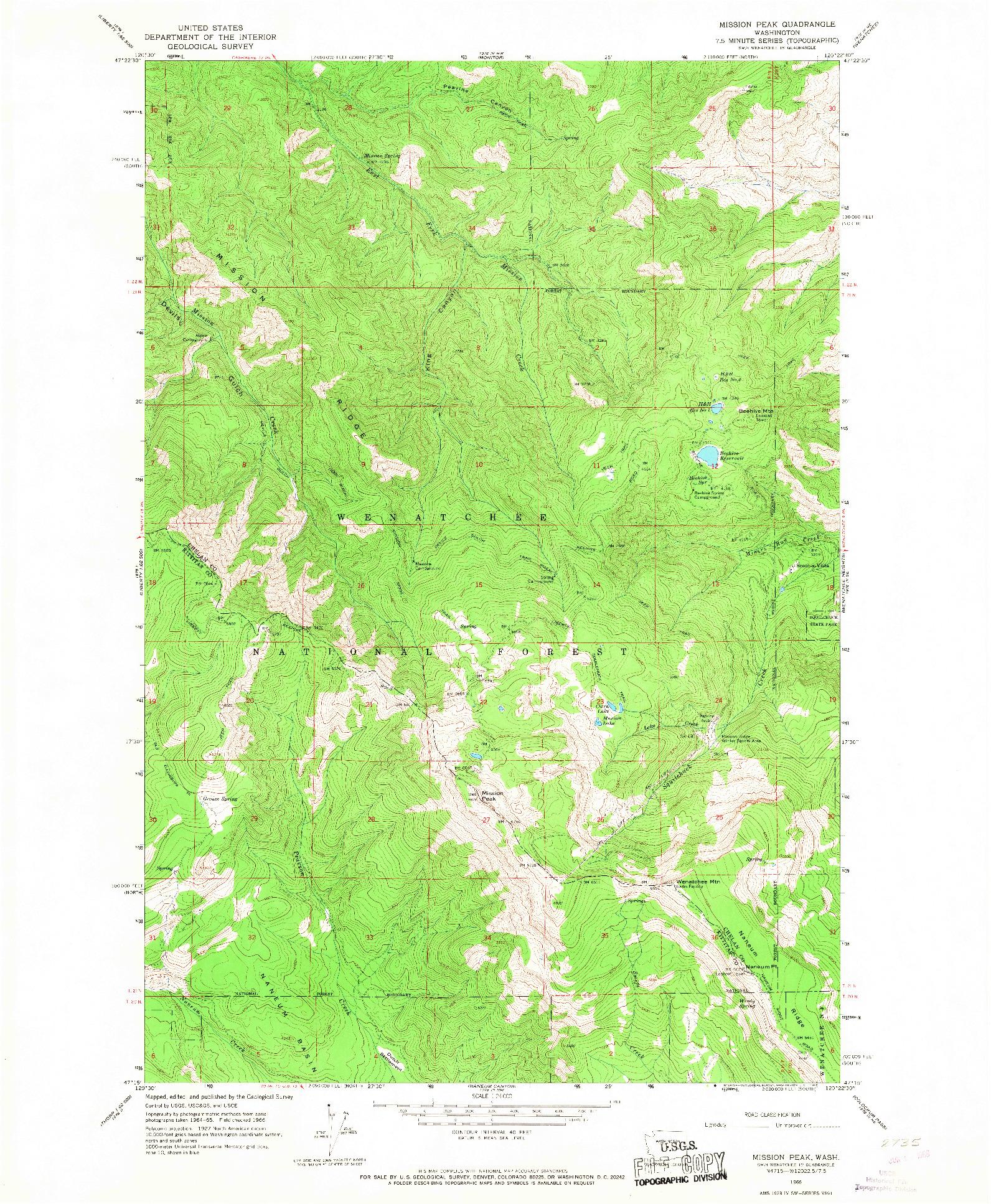USGS 1:24000-SCALE QUADRANGLE FOR MISSION PEAK, WA 1966