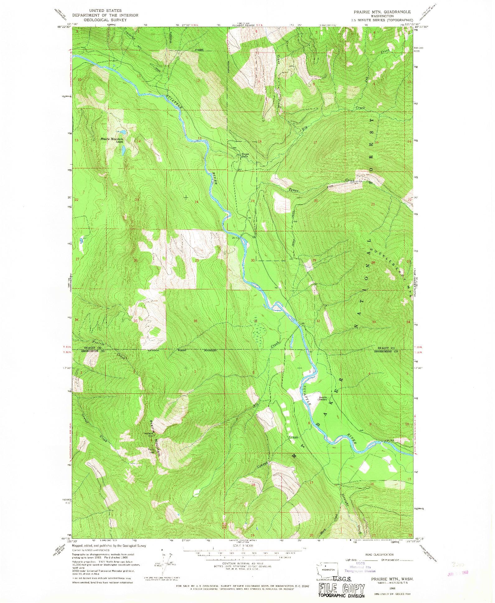 USGS 1:24000-SCALE QUADRANGLE FOR PRAIRIE MTN., WA 1966