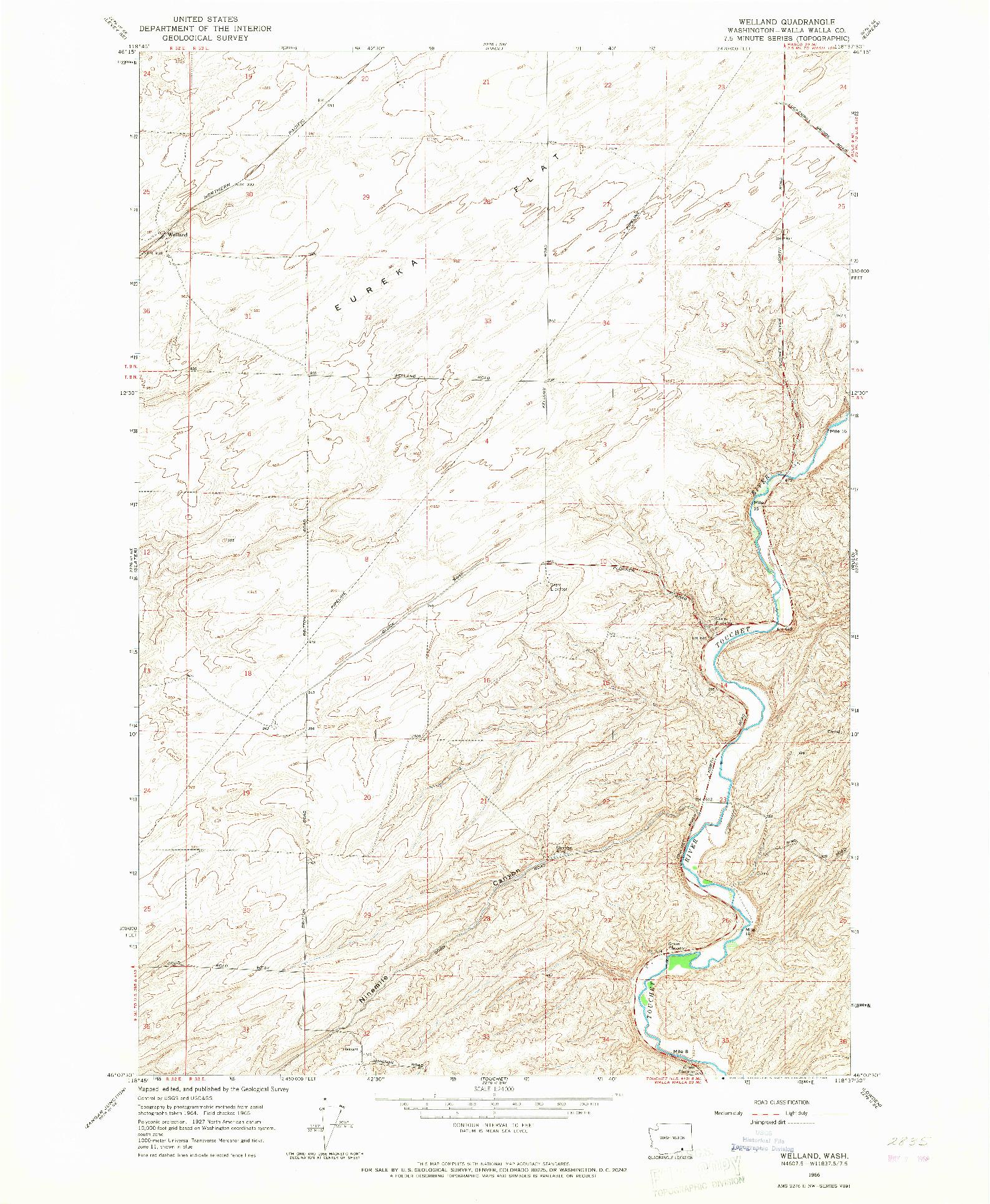 USGS 1:24000-SCALE QUADRANGLE FOR WELLAND, WA 1966