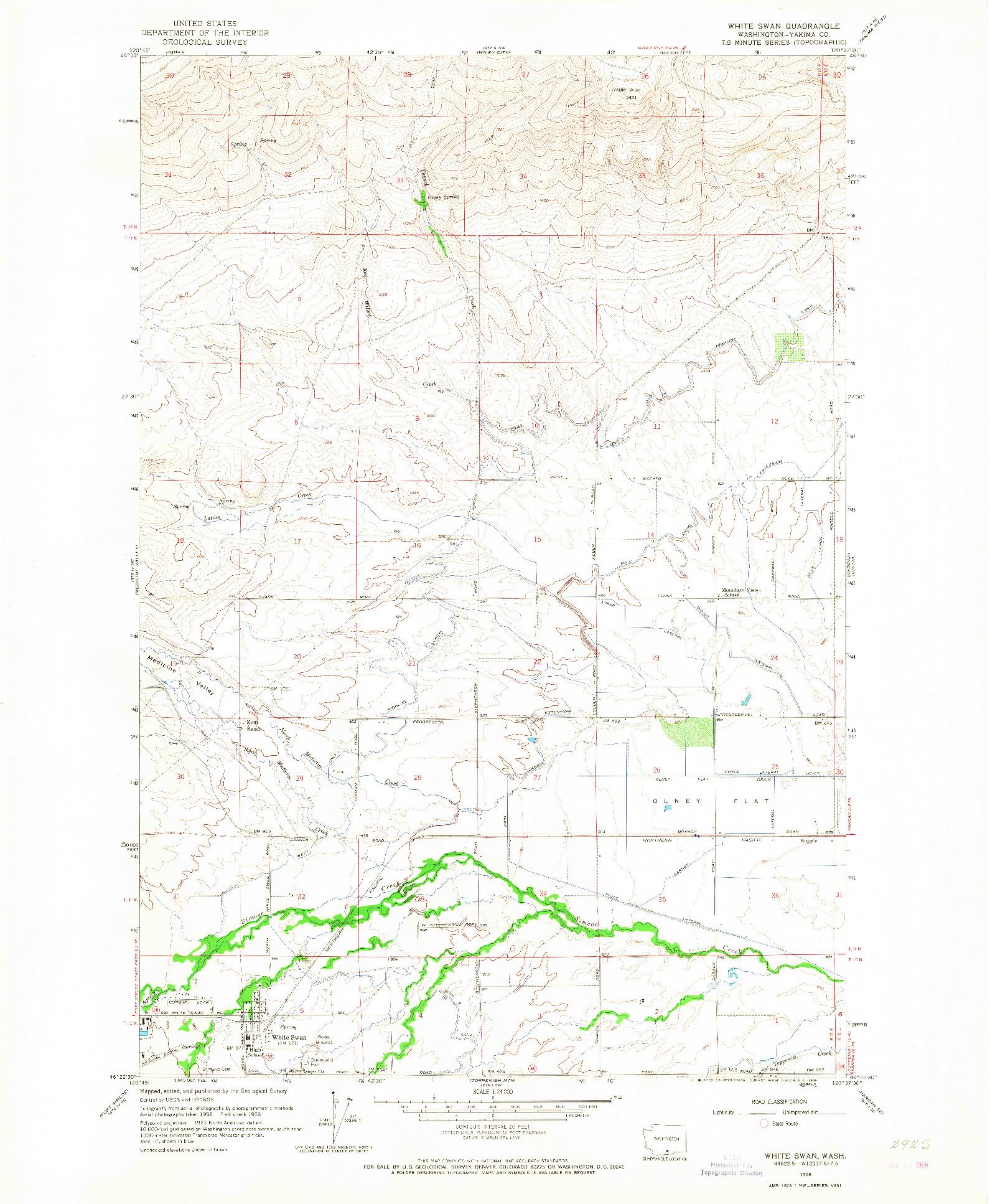 USGS 1:24000-SCALE QUADRANGLE FOR WHITE SWAN, WA 1958