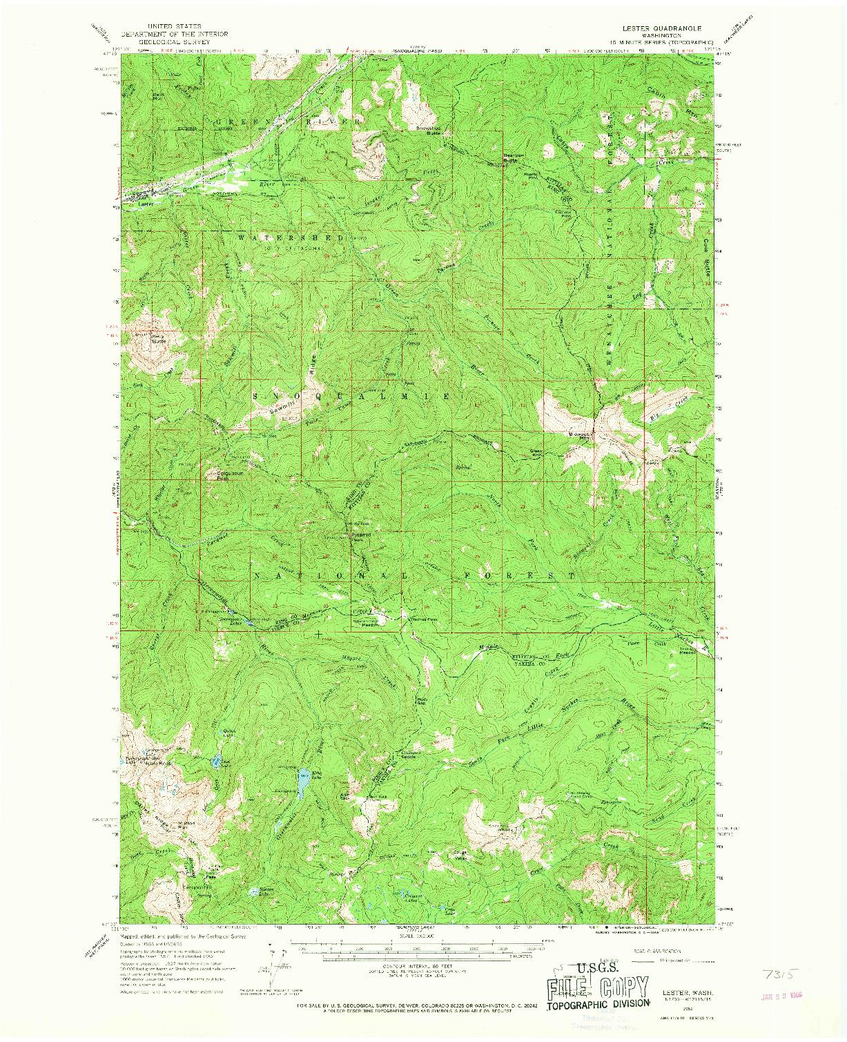 USGS 1:62500-SCALE QUADRANGLE FOR LESTER, WA 1962