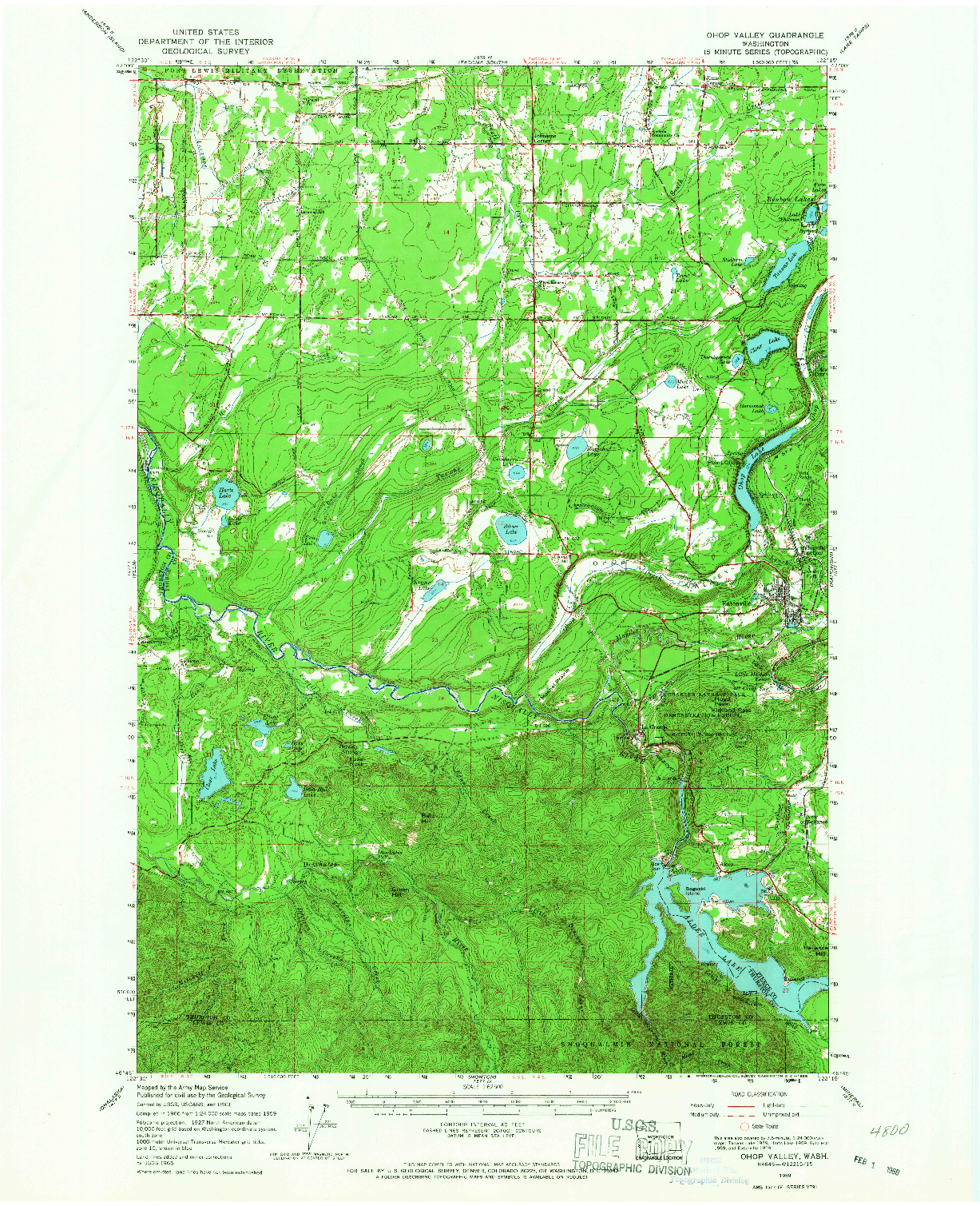 USGS 1:62500-SCALE QUADRANGLE FOR OHOP VALLEY, WA 1959
