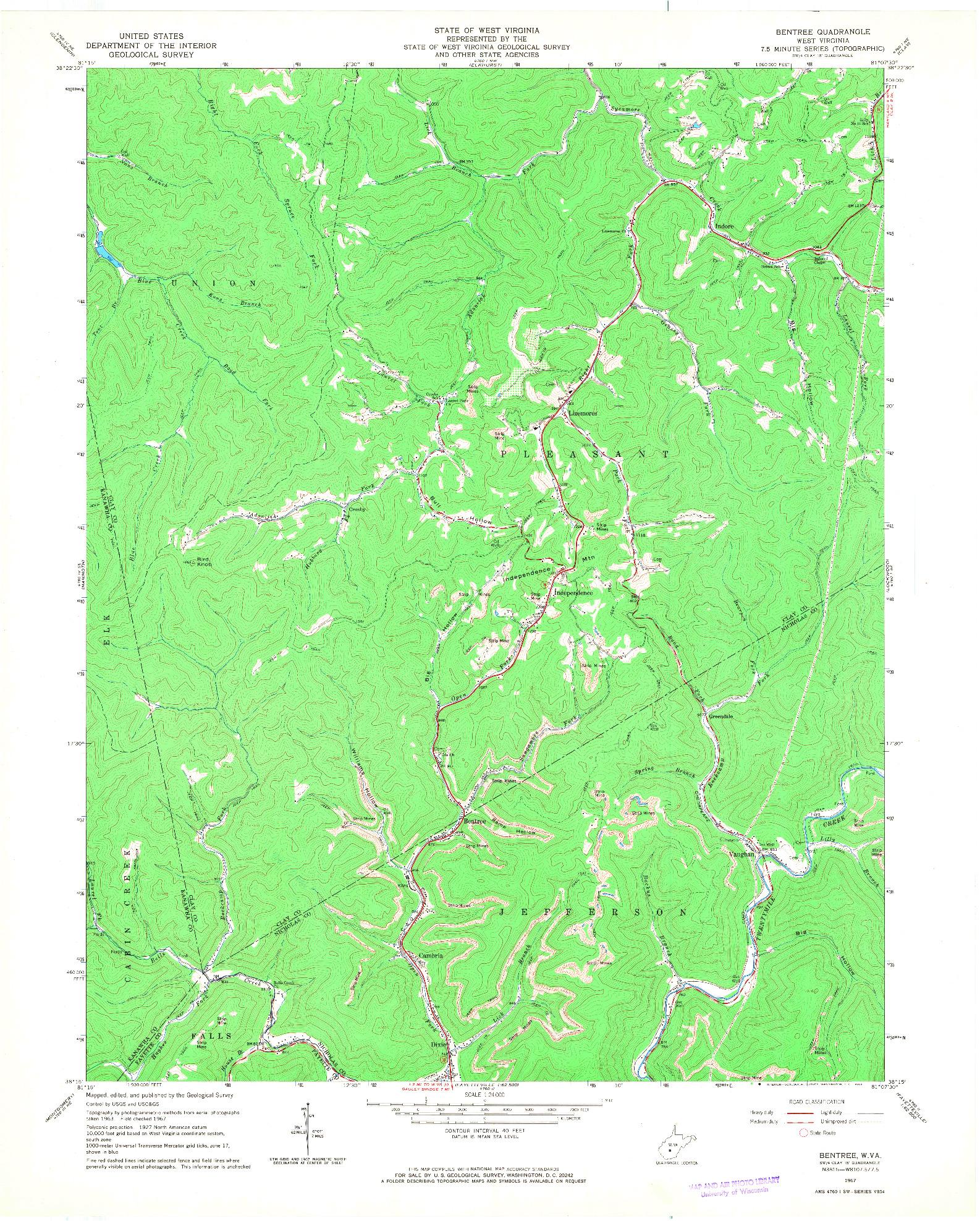 USGS 1:24000-SCALE QUADRANGLE FOR BENTREE, WV 1967