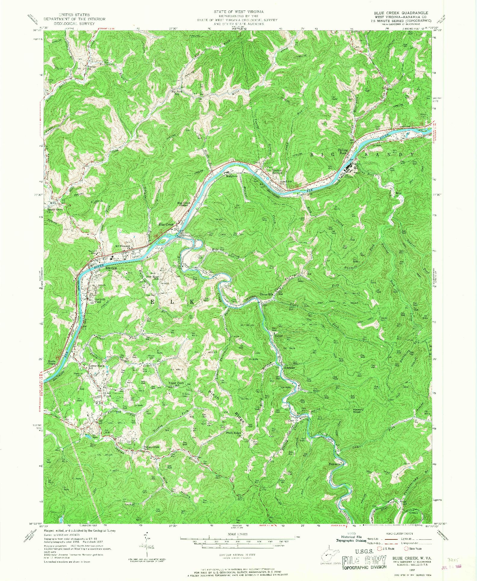 USGS 1:24000-SCALE QUADRANGLE FOR BLUE CREEK, WV 1957