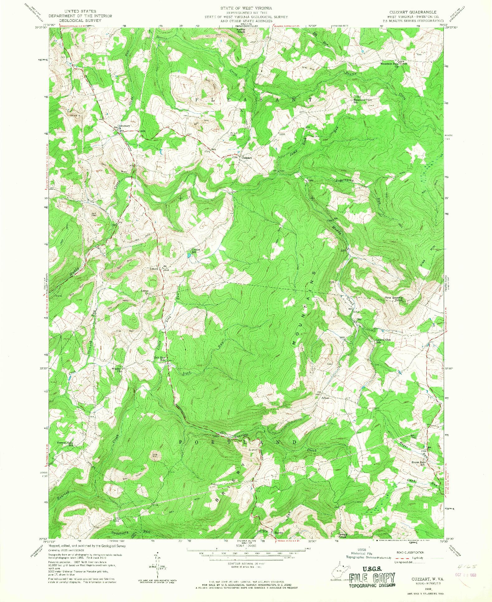 USGS 1:24000-SCALE QUADRANGLE FOR CUZZART, WV 1959
