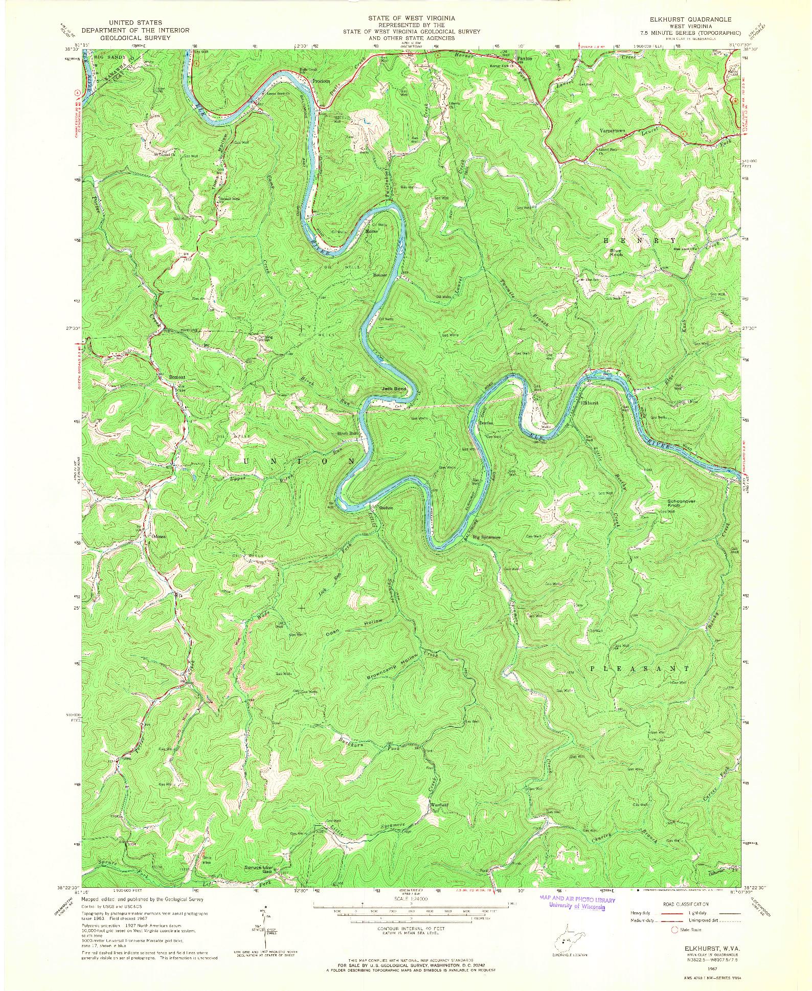 USGS 1:24000-SCALE QUADRANGLE FOR ELKHURST, WV 1967