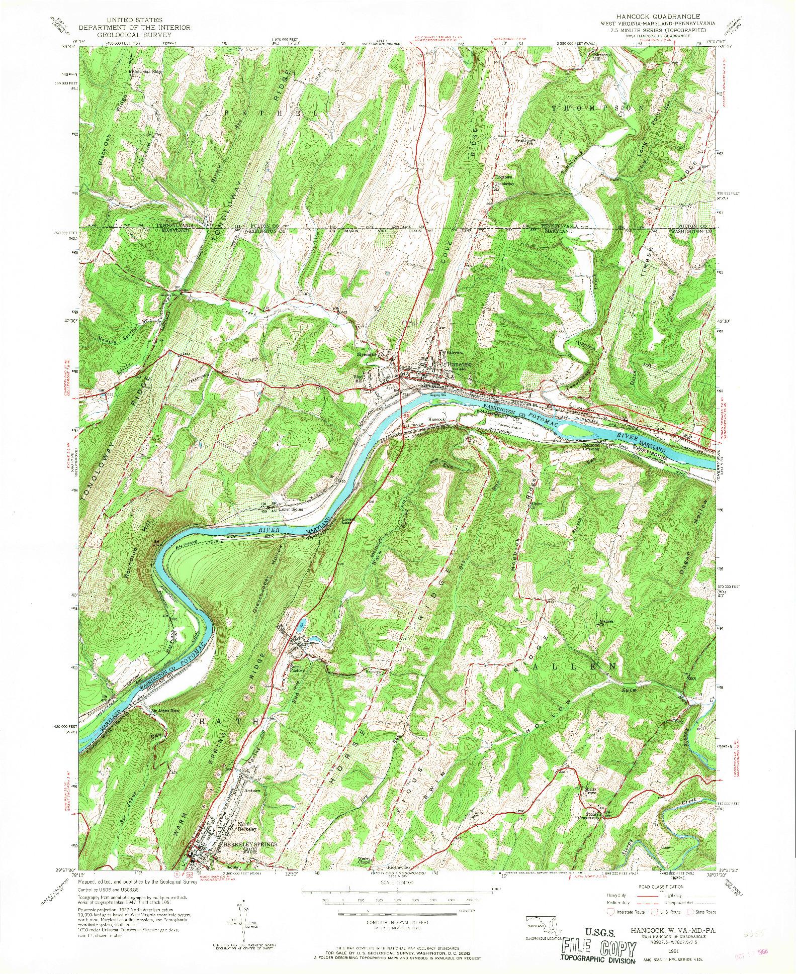 USGS 1:24000-SCALE QUADRANGLE FOR HANCOCK, WV 1951