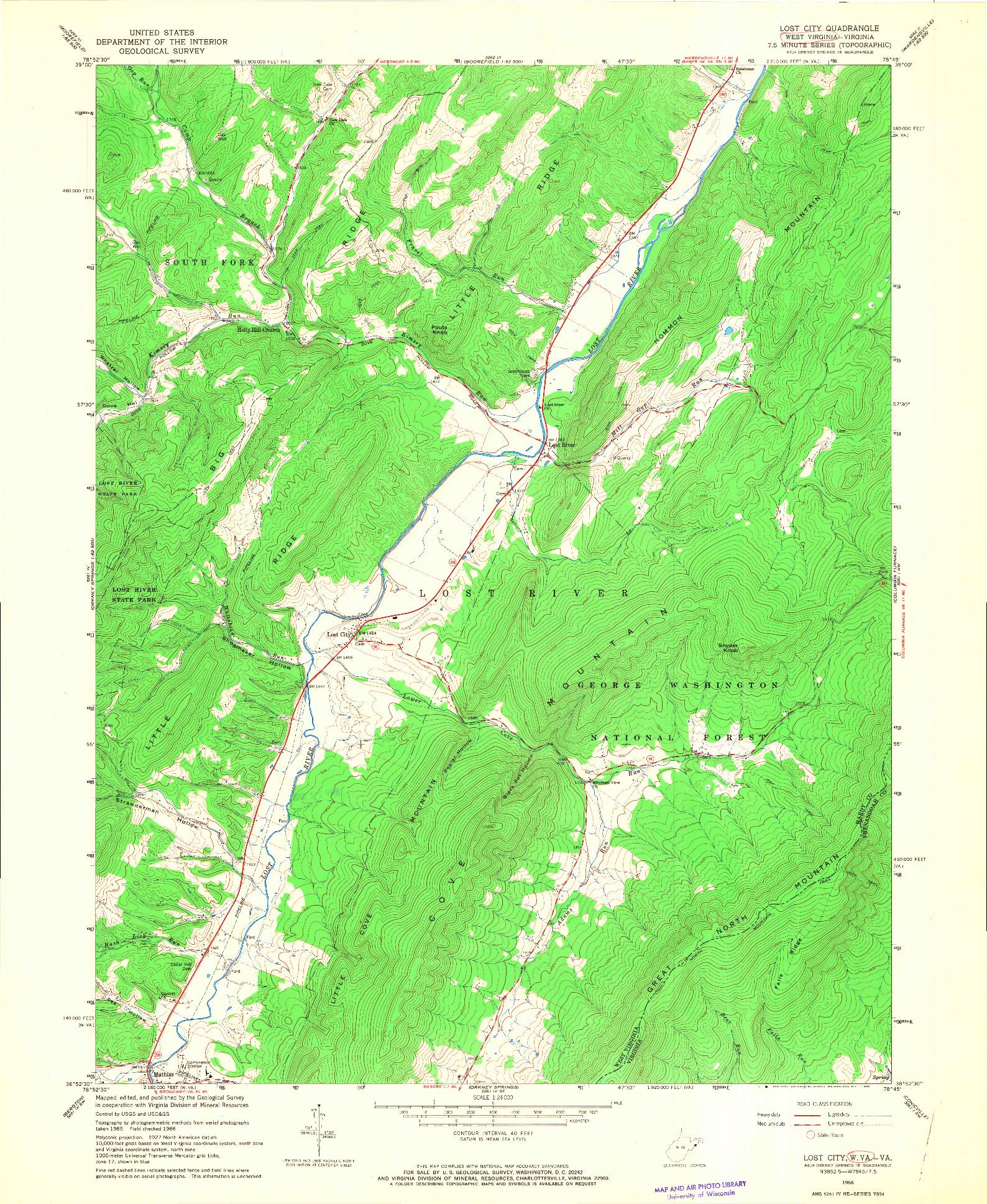 USGS 1:24000-SCALE QUADRANGLE FOR LOST CITY, WV 1966