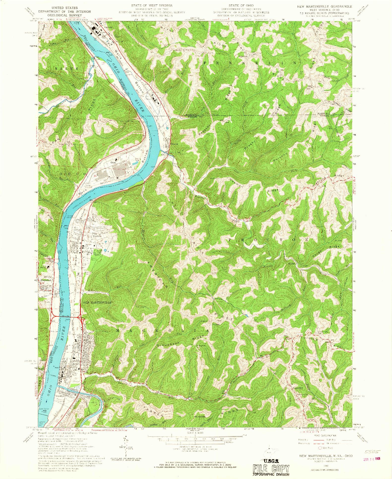 USGS 1:24000-SCALE QUADRANGLE FOR NEW MARTINSVILLE, WV 1960