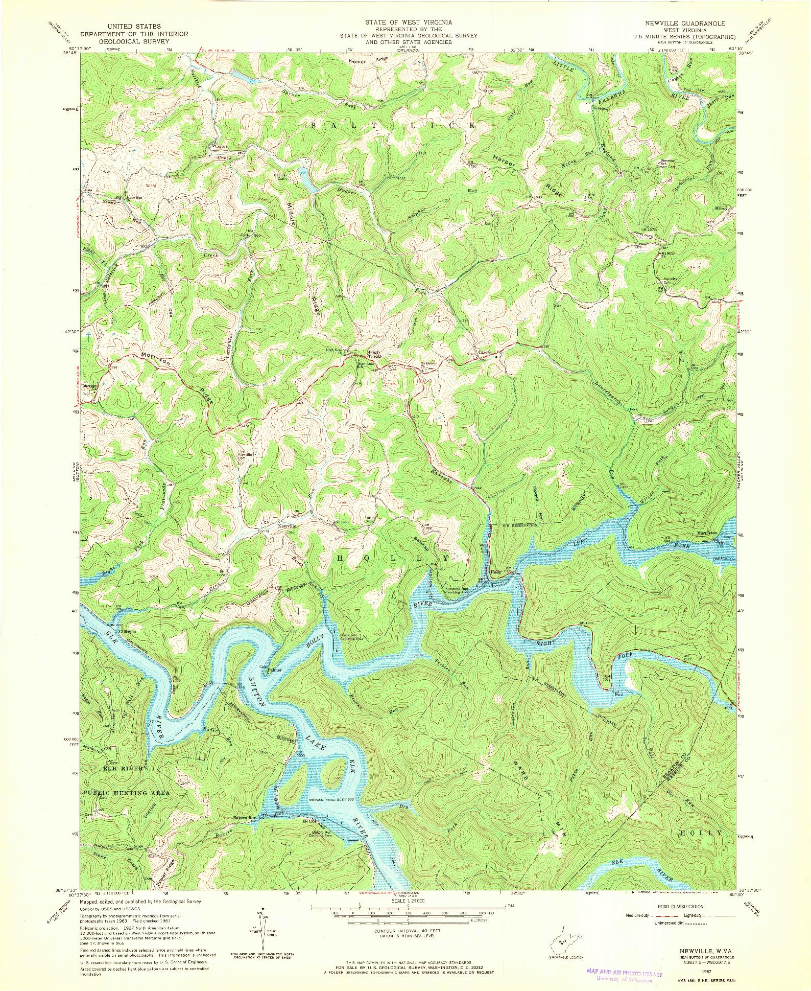 USGS 1:24000-SCALE QUADRANGLE FOR NEWVILLE, WV 1967