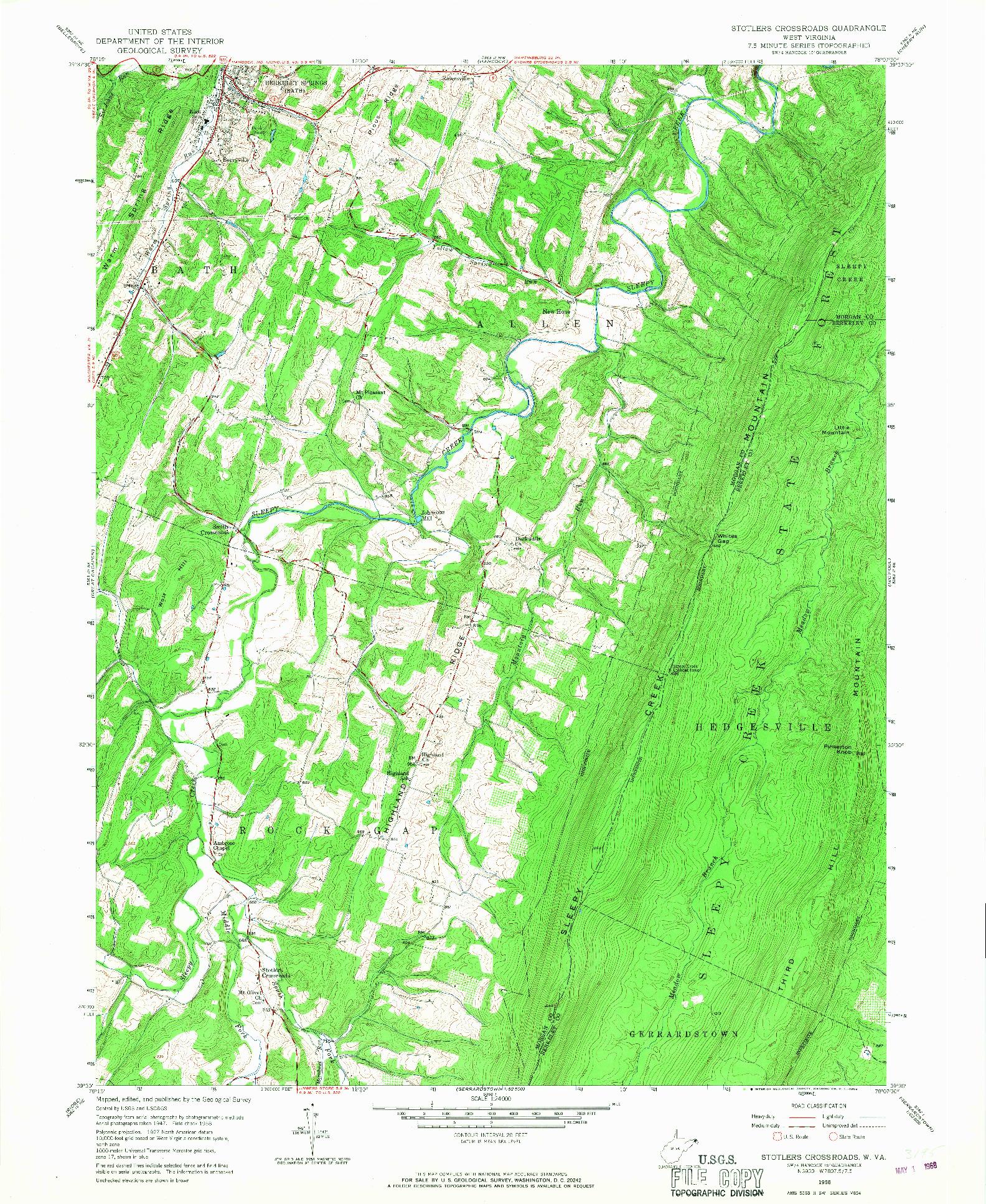 USGS 1:24000-SCALE QUADRANGLE FOR STOTLERS CROSSROADS, WV 1958