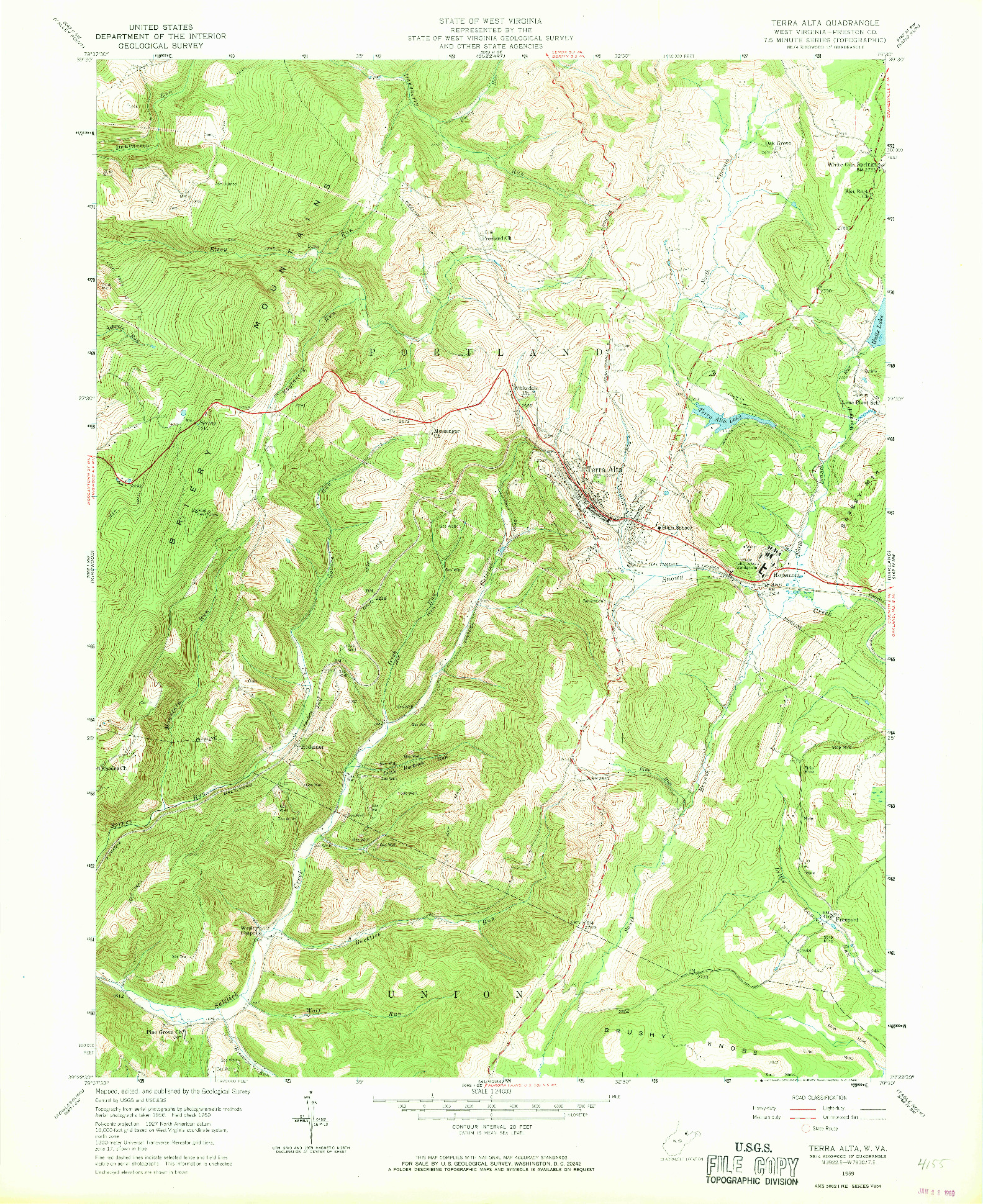 USGS 1:24000-SCALE QUADRANGLE FOR TERRA ALTA, WV 1959