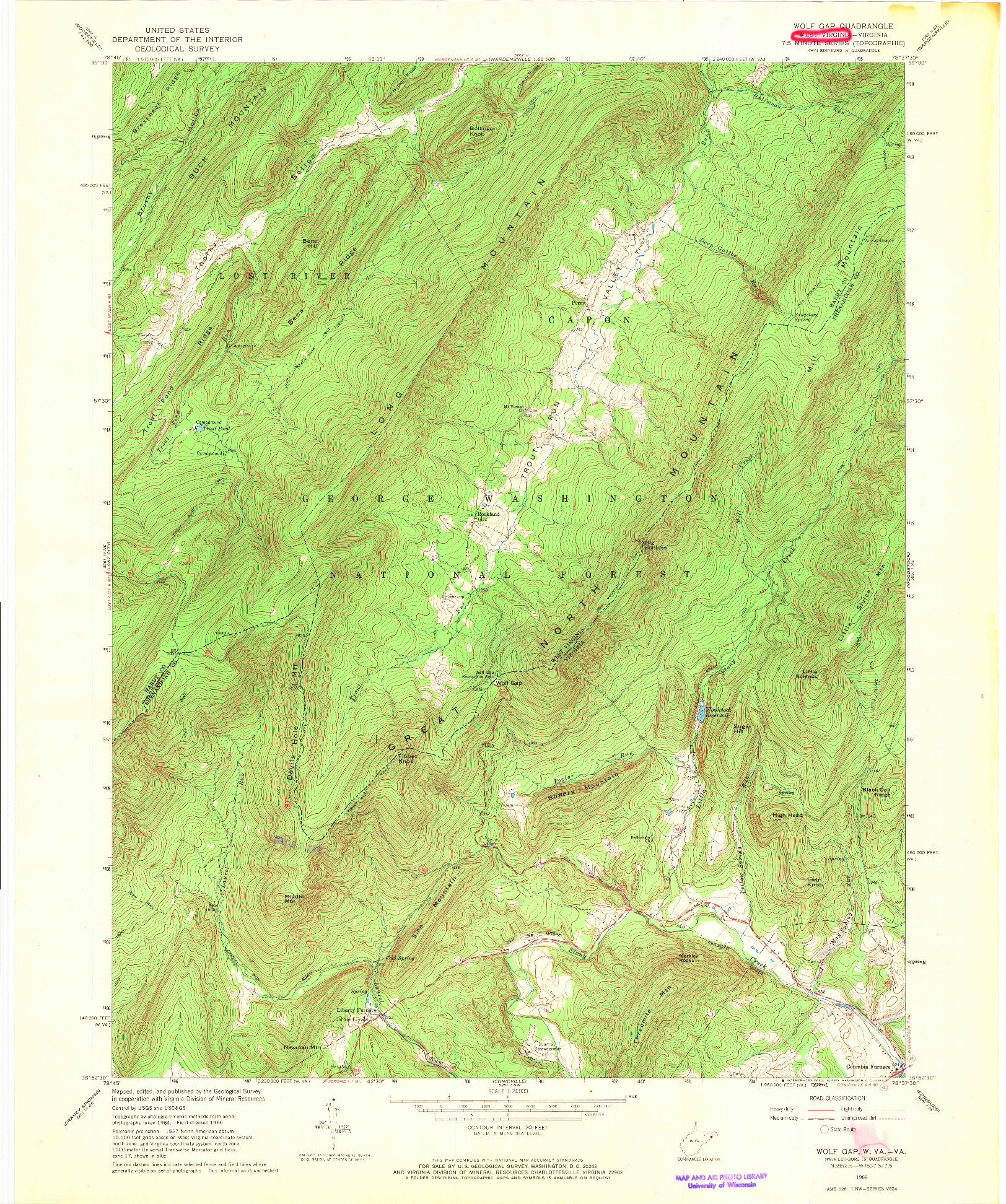 USGS 1:24000-SCALE QUADRANGLE FOR WOLF GAP, WV 1966