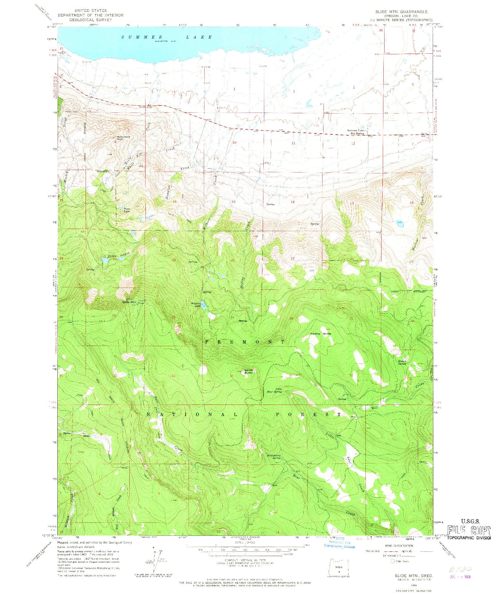 USGS 1:24000-SCALE QUADRANGLE FOR SLIDE MTN, OR 1966