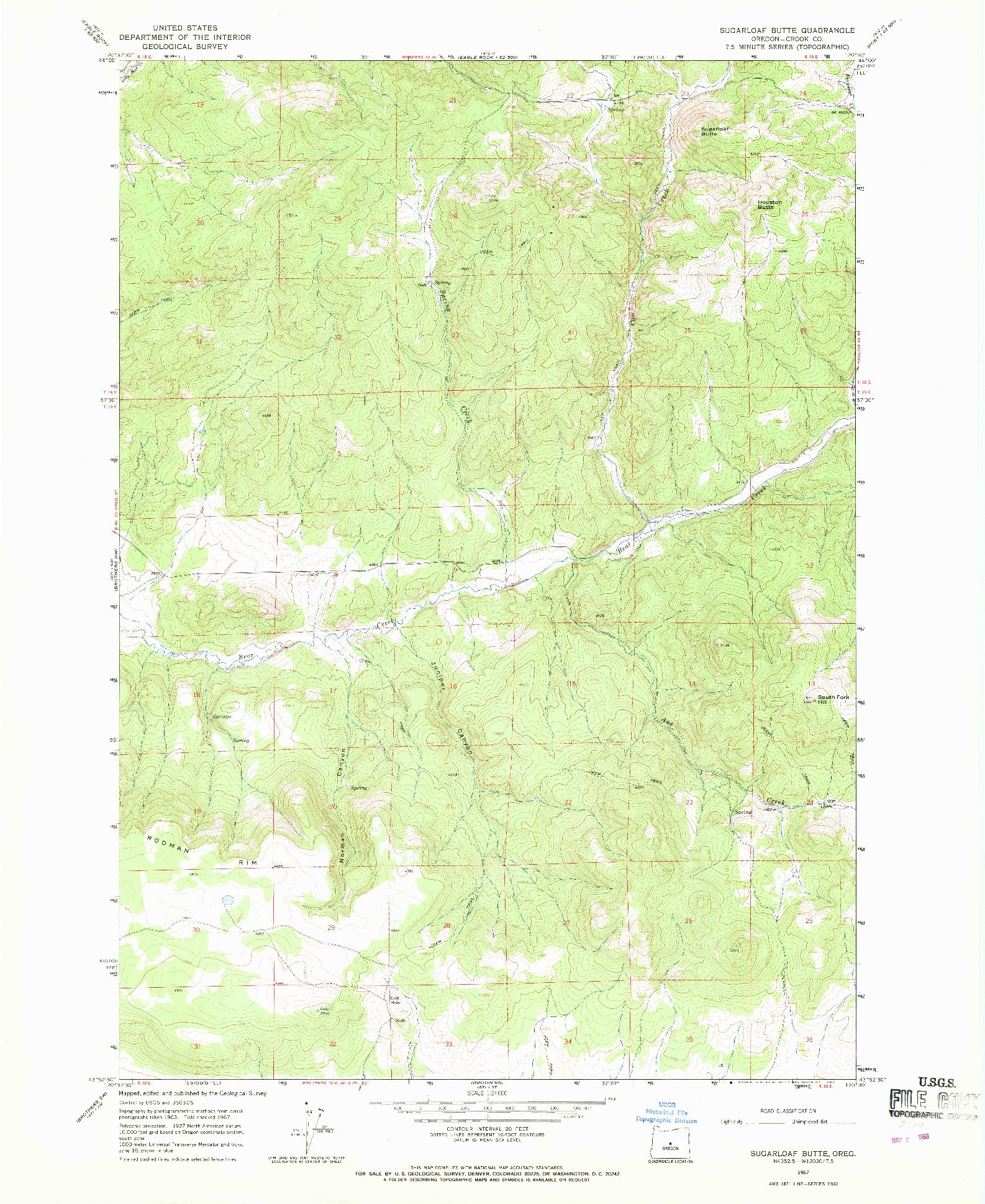 USGS 1:24000-SCALE QUADRANGLE FOR SUGARLOAF BUTTE, OR 1967