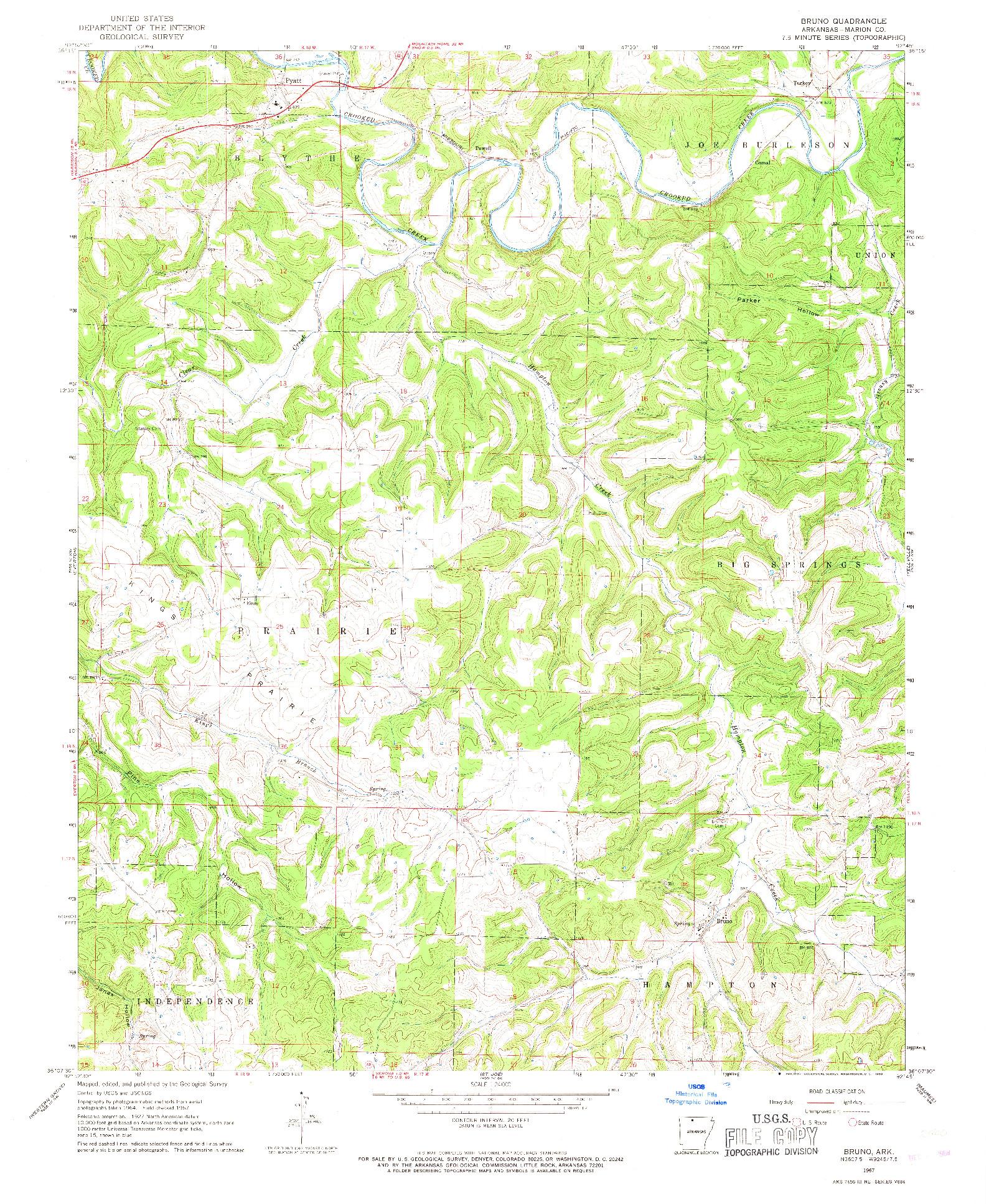 USGS 1:24000-SCALE QUADRANGLE FOR BRUNO, AR 1967