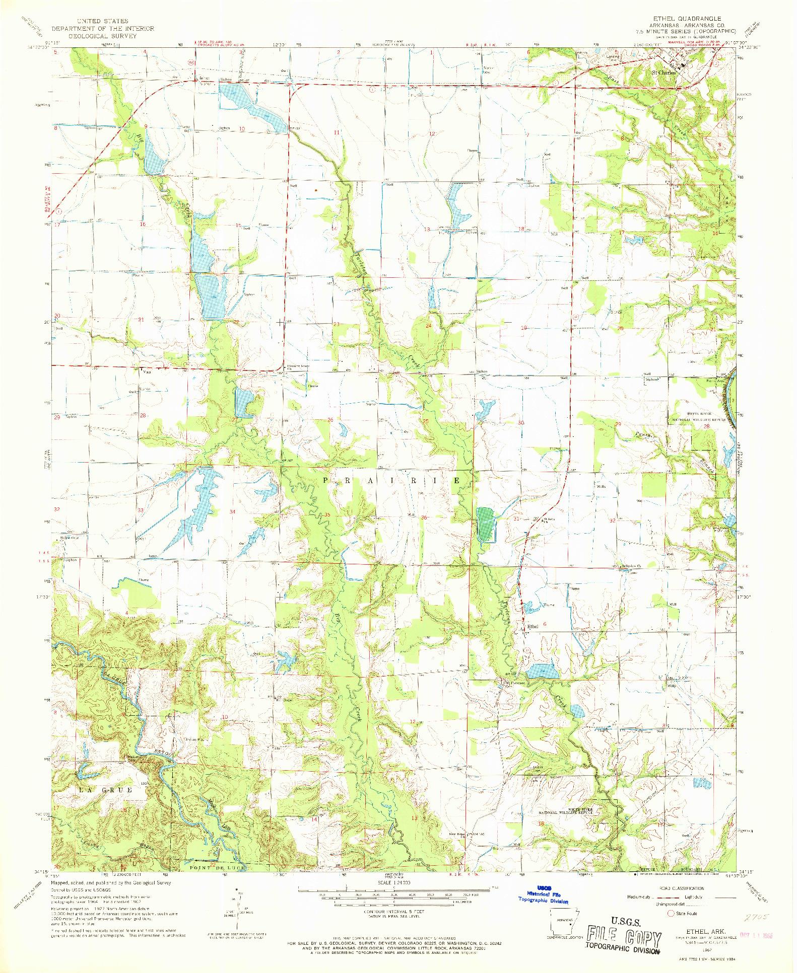 USGS 1:24000-SCALE QUADRANGLE FOR ETHEL, AR 1967